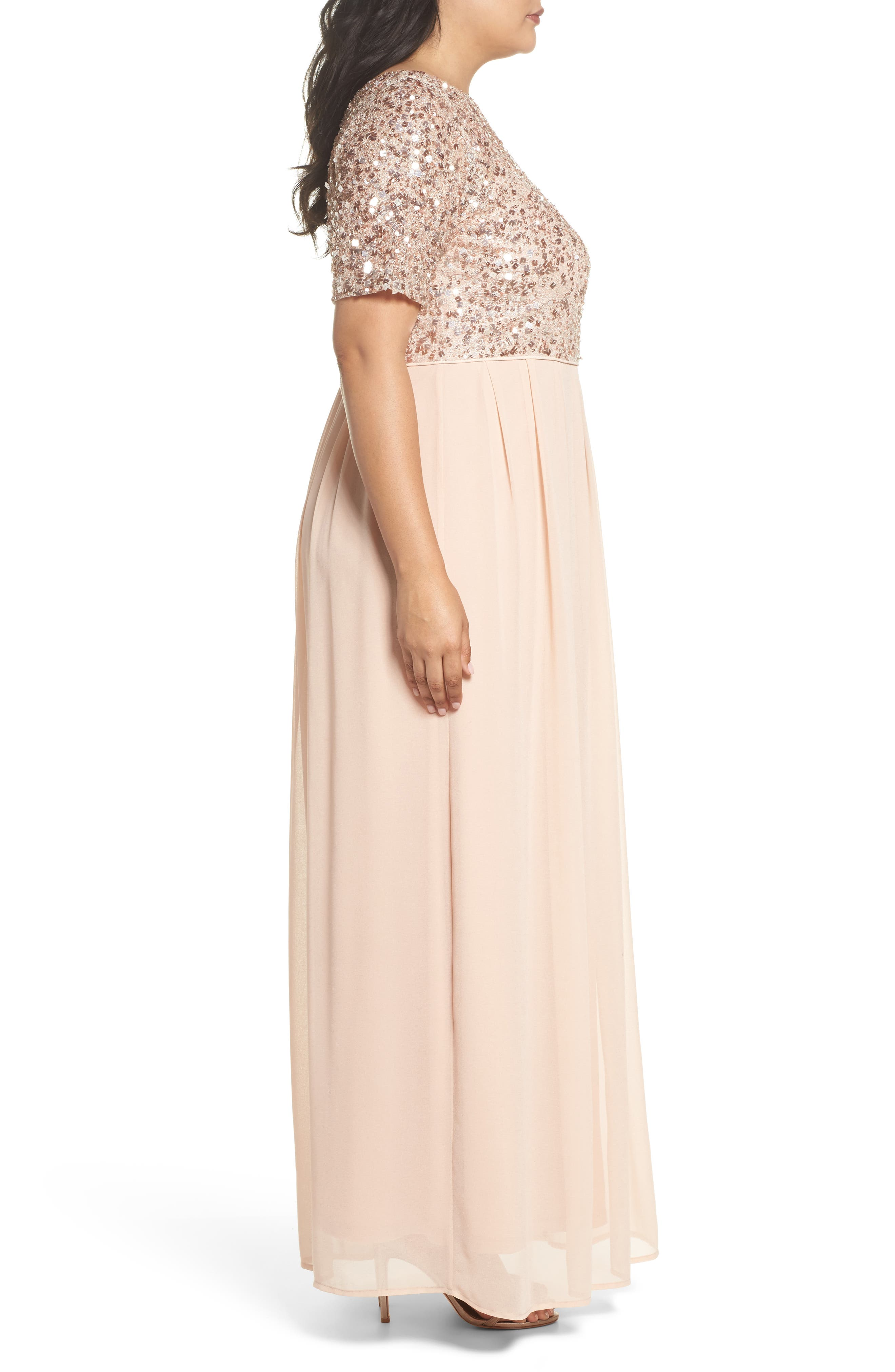 Beaded Metallic Lace Gown,                             Alternate thumbnail 3, color,                             English Rose