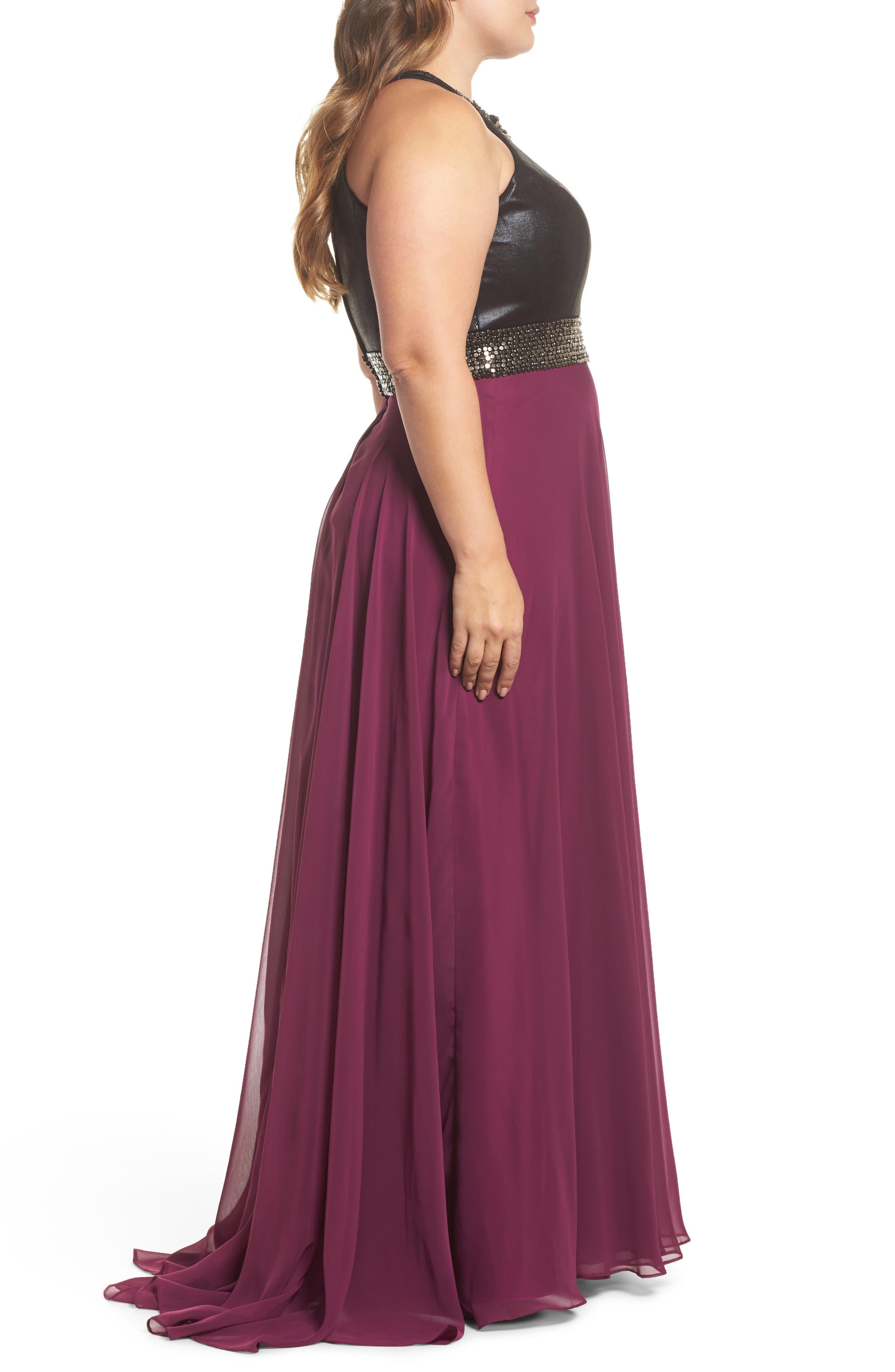 Beaded High Neck Gown,                             Alternate thumbnail 3, color,                             Purple/ Black