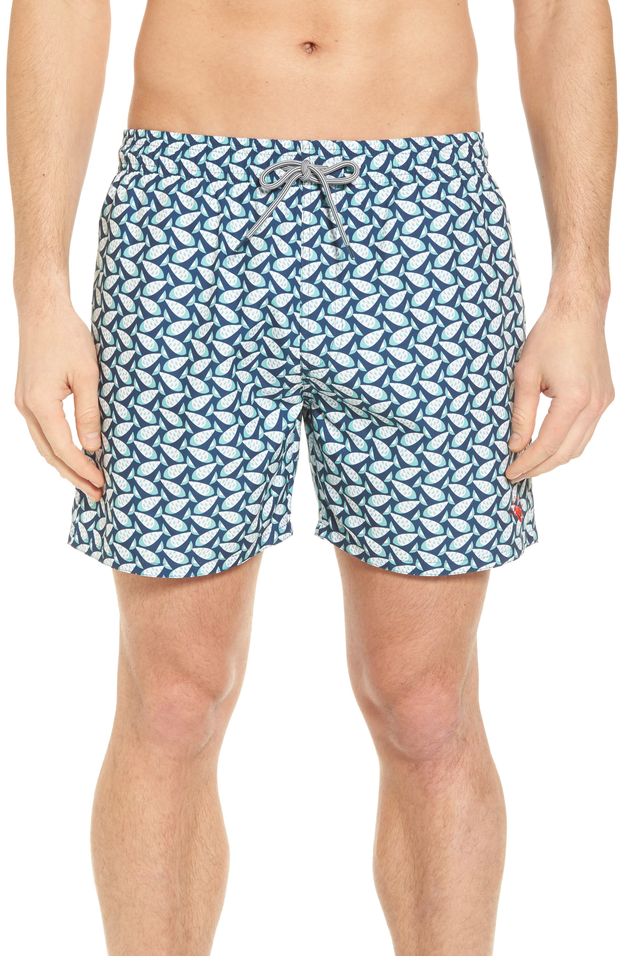 Loxham Fish Geo Print Swim Short,                         Main,                         color, Navy
