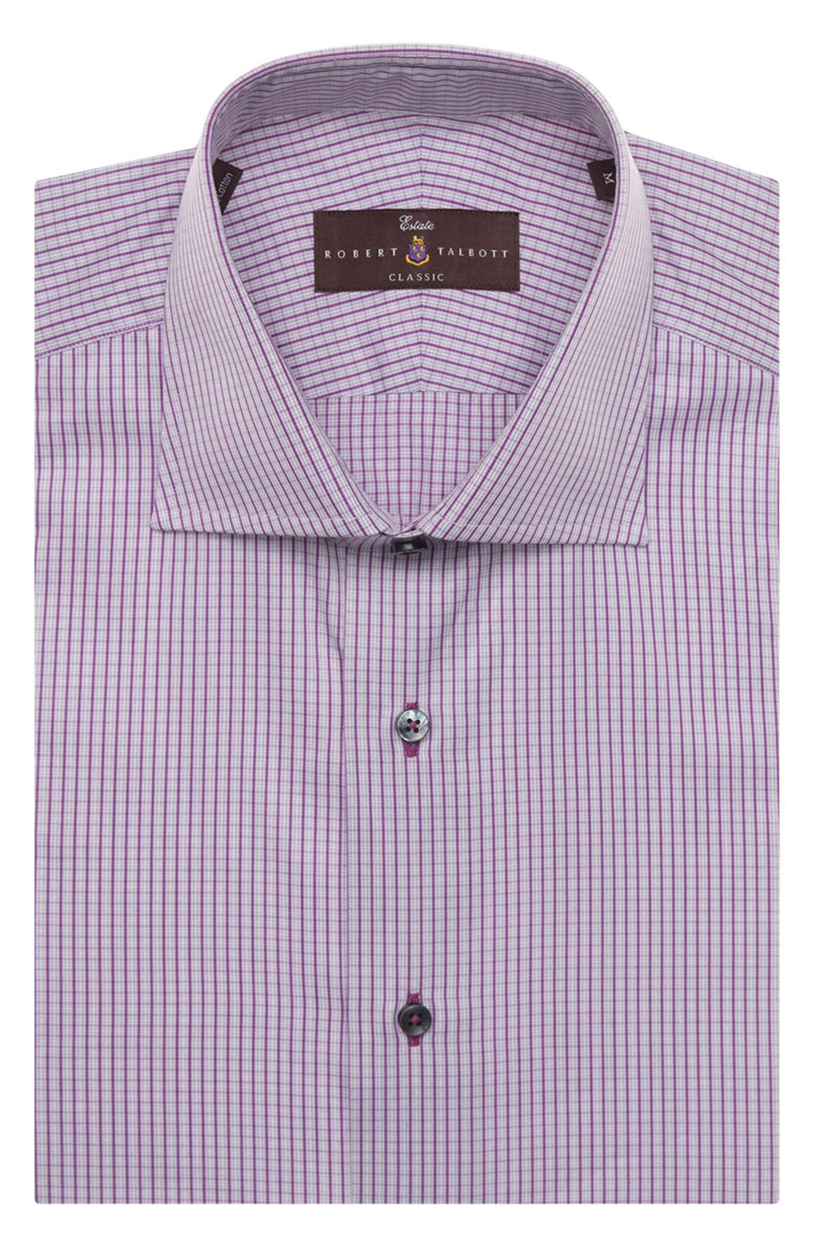 Tailored Fit Check Dress Shirt,                         Main,                         color, Aster