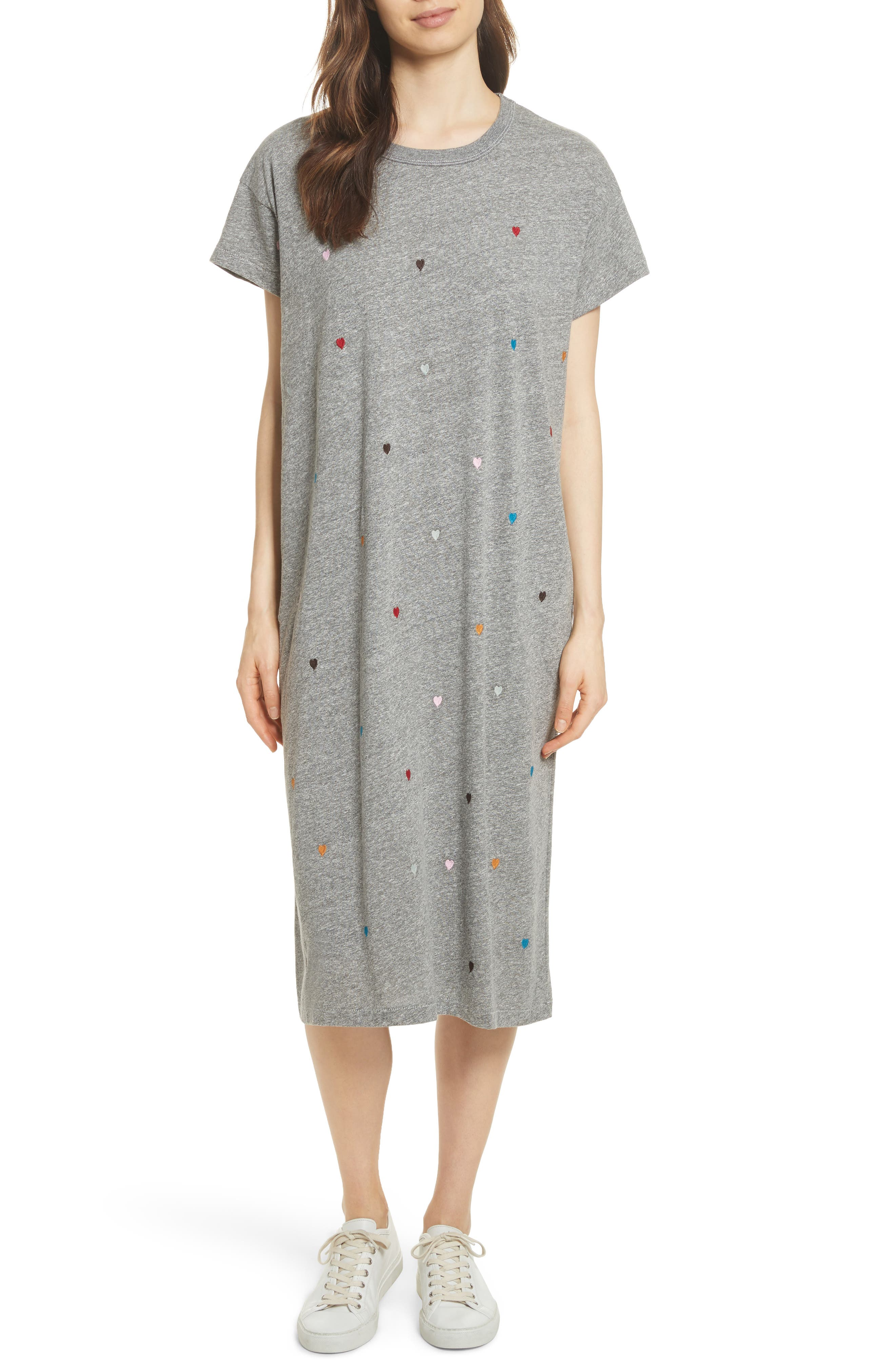 The Boxy Embroidered T-Shirt Dress,                         Main,                         color, Grey/ Heart Embroidery