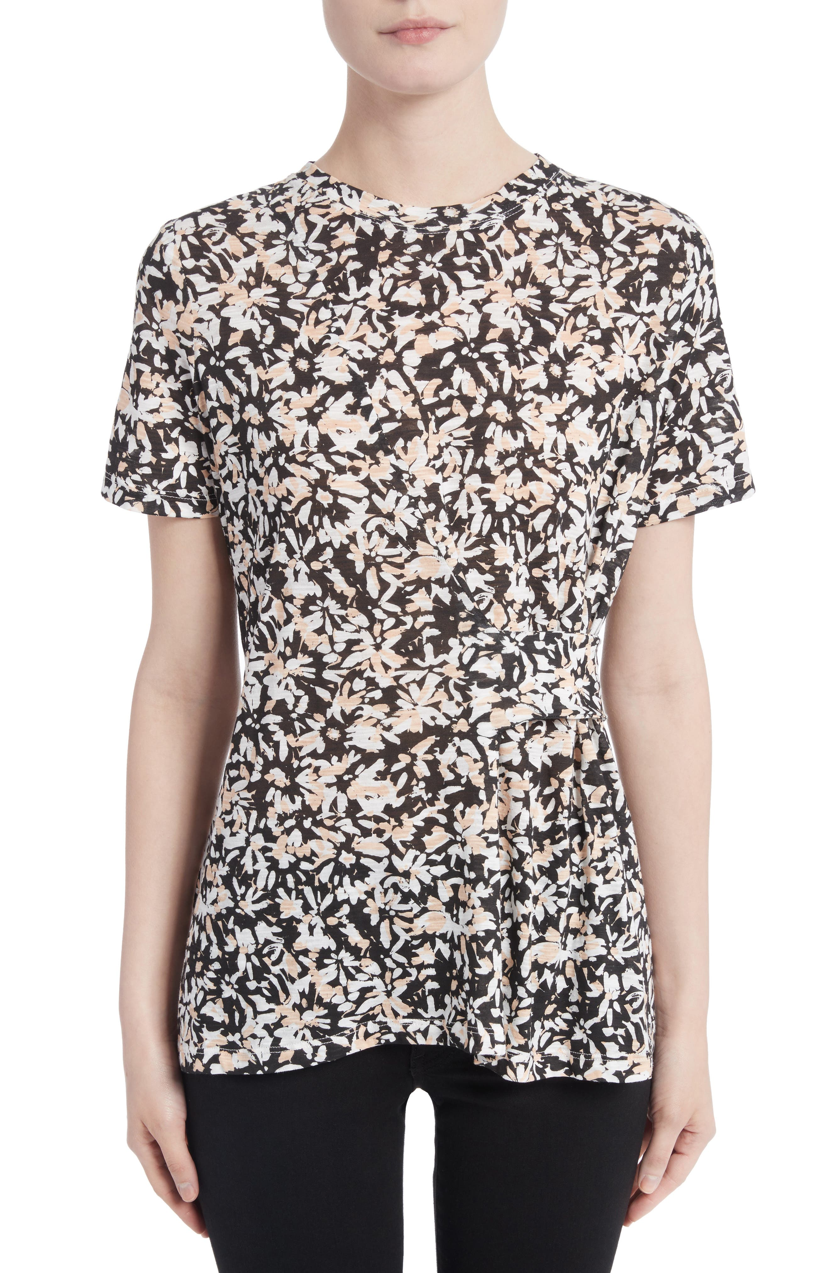 Band Detail Print Tissue Jersey Tee,                         Main,                         color, Nude/ Black Painted Floral