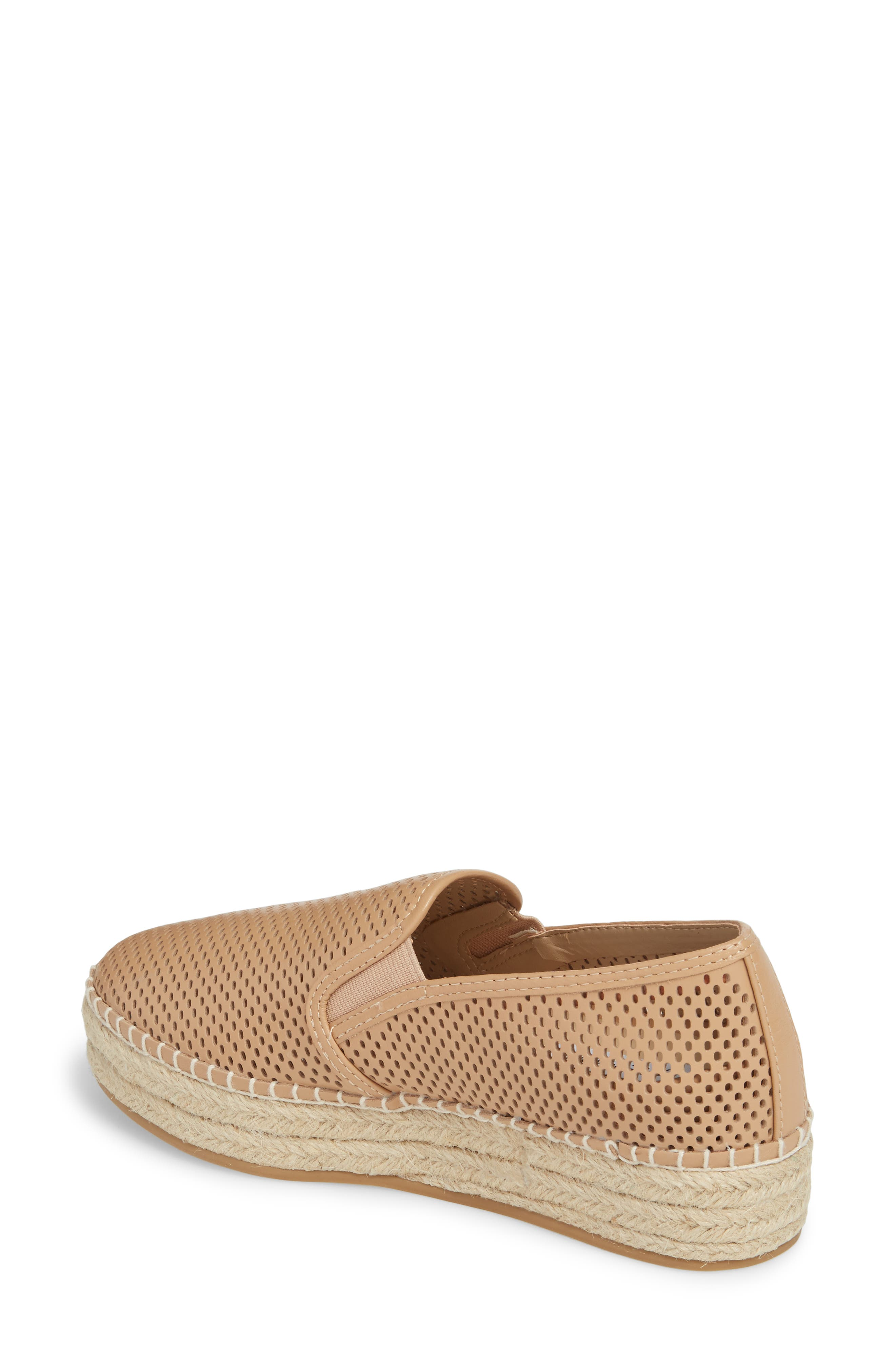 Wright Perforated Platform Espadrille,                             Alternate thumbnail 2, color,                             Natural Leather
