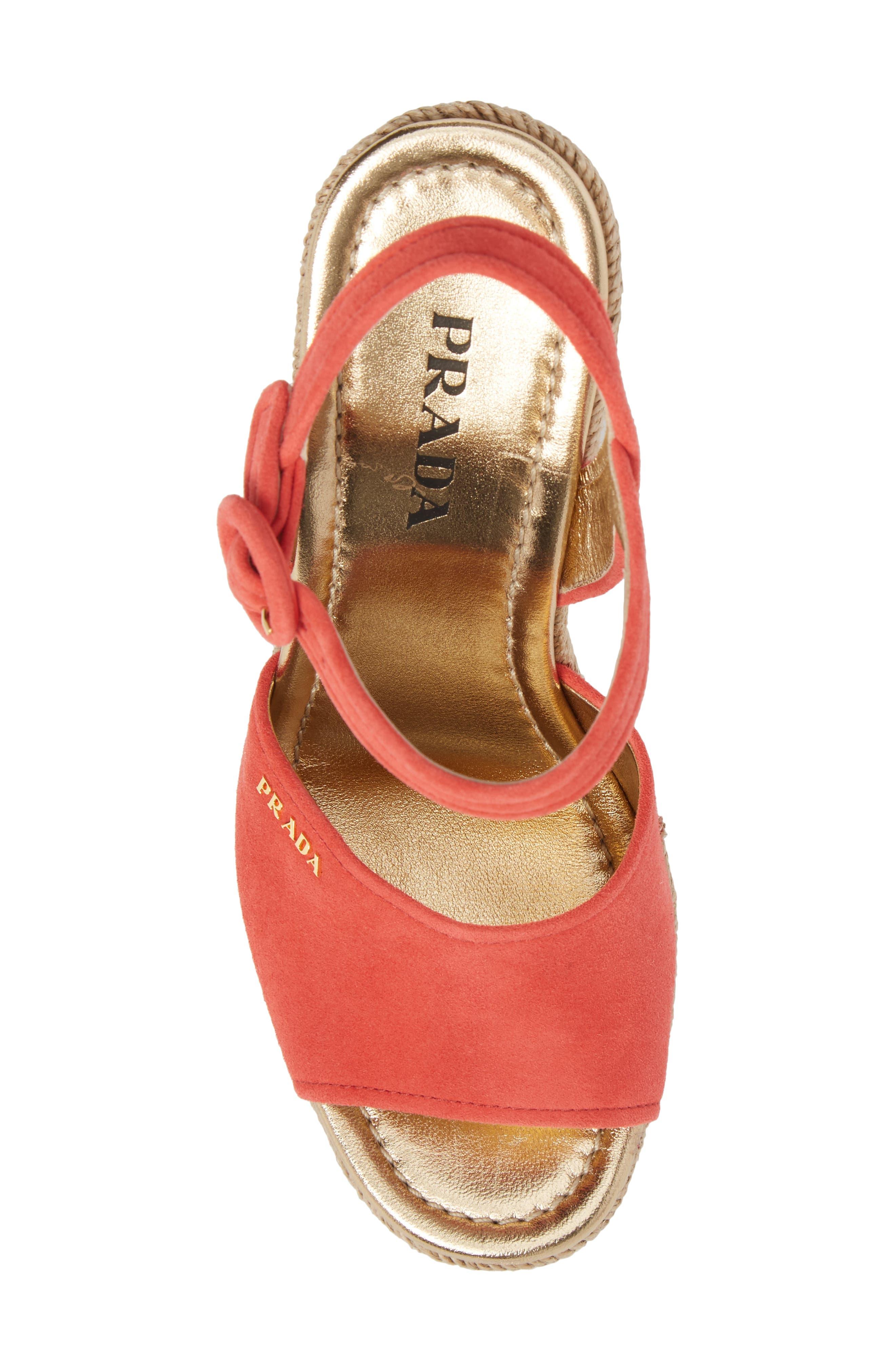 Espadrille Wedge Sandal,                             Alternate thumbnail 5, color,                             Red