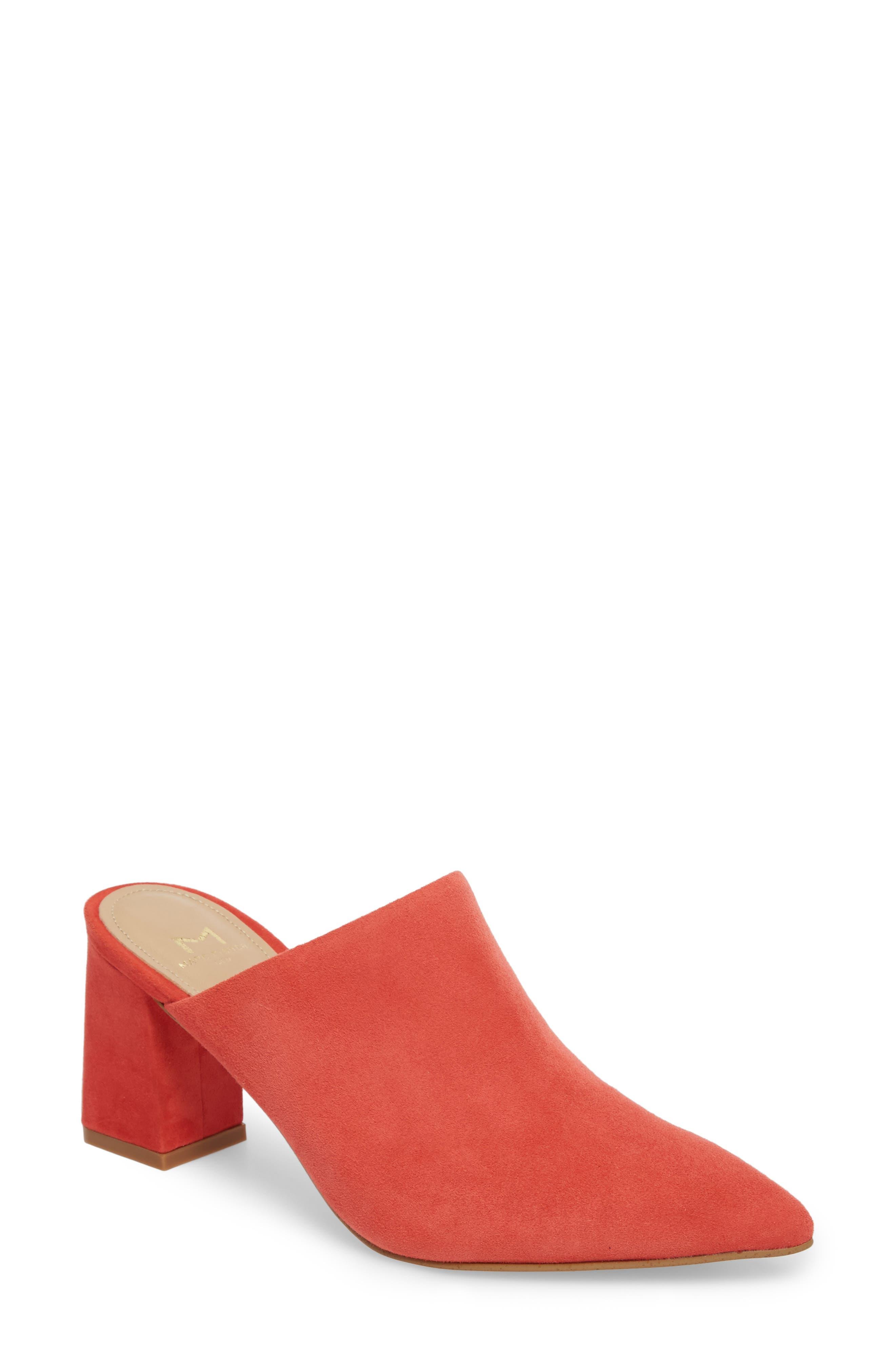 Zivon Pointy Toe Mule,                         Main,                         color, Orange Suede