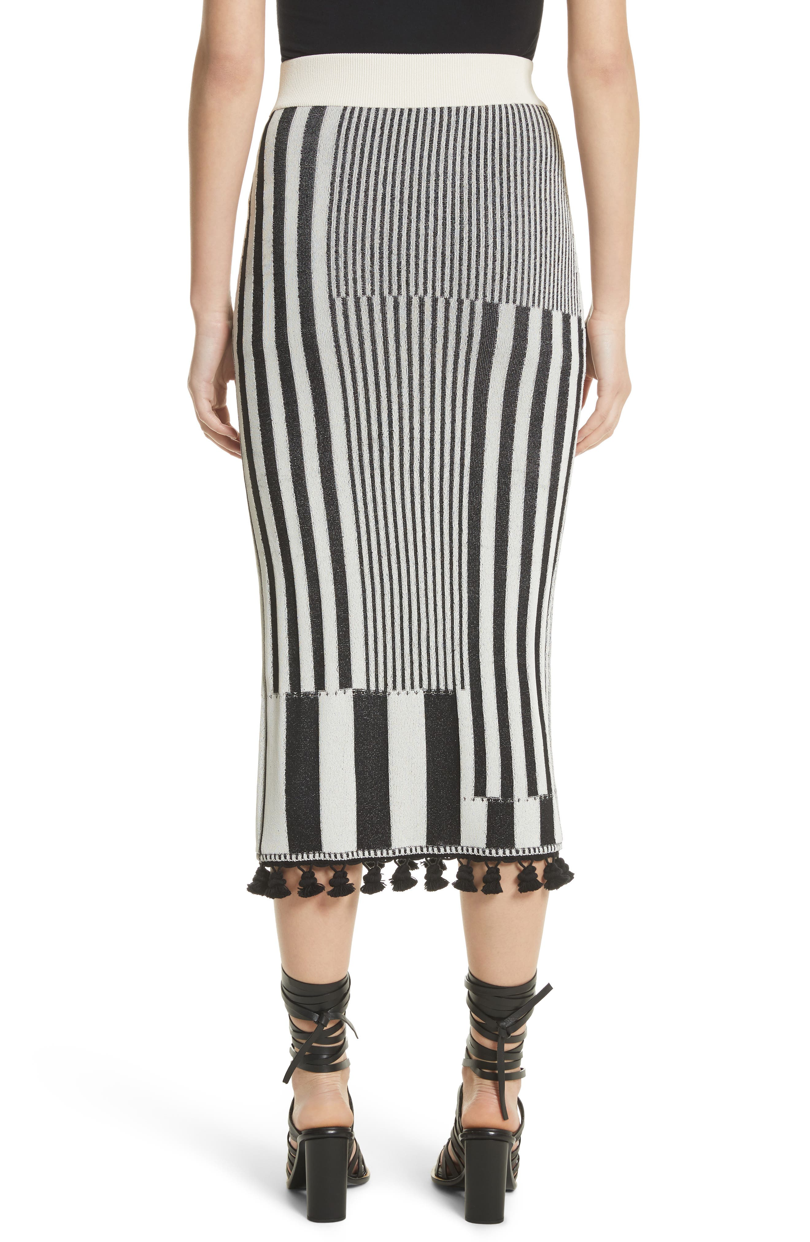 Tassel Trim Stripe Pencil Skirt,                             Alternate thumbnail 3, color,                             Black