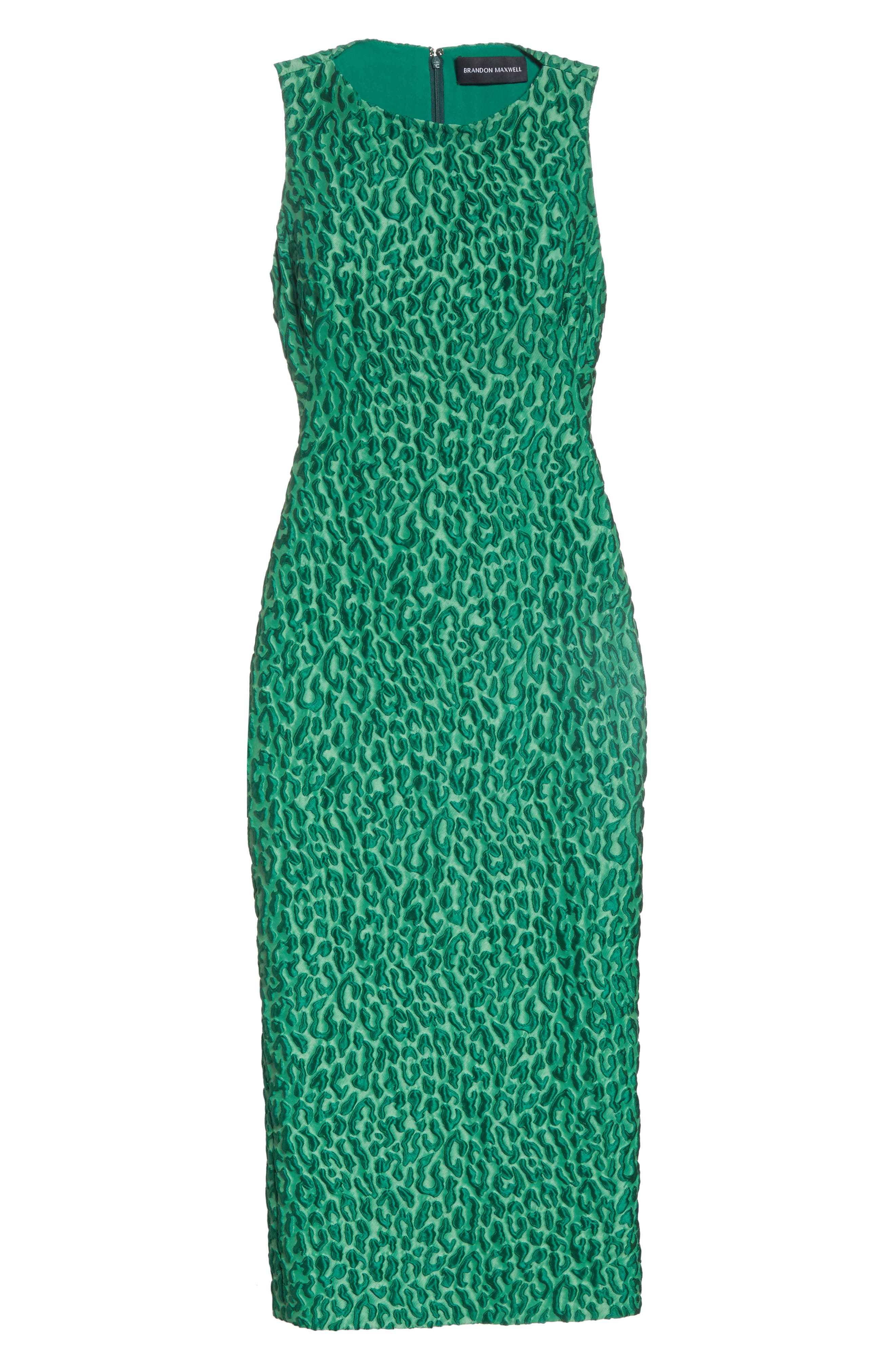 Leopard Jacquard Sheath Dress,                             Alternate thumbnail 6, color,                             Green