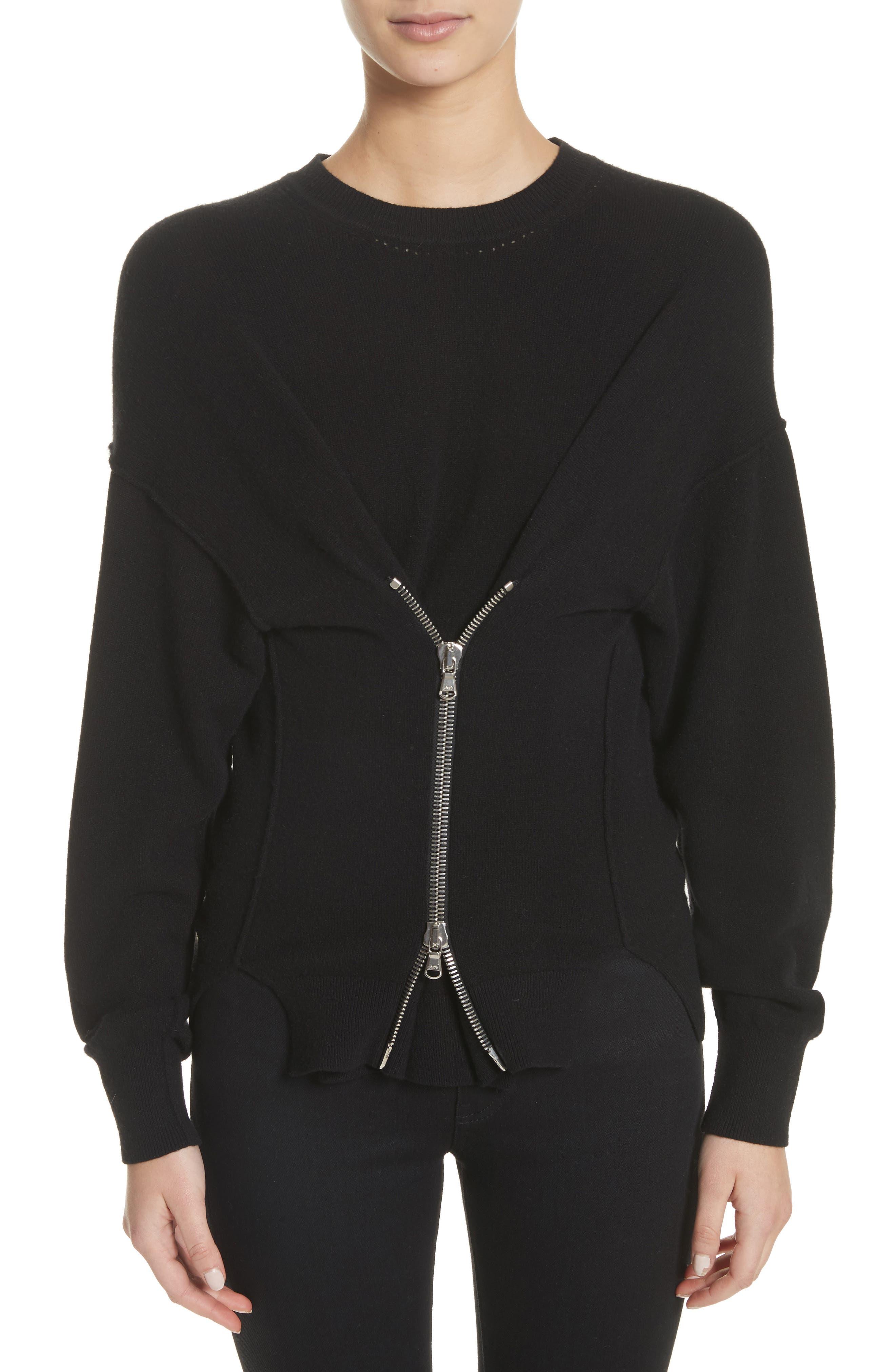 Zip Front Wool & Cashmere Blend Sweater,                             Main thumbnail 1, color,                             Black