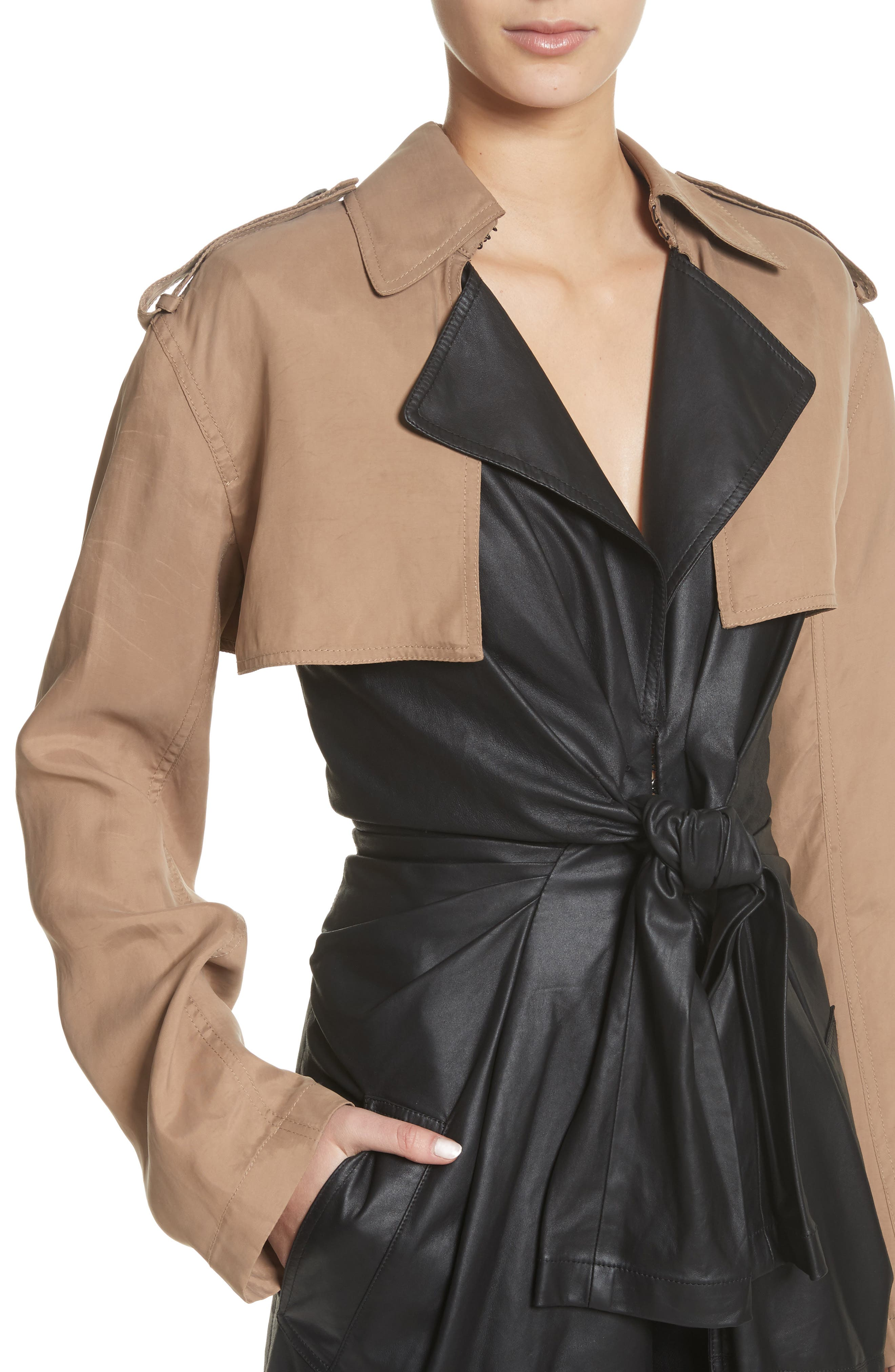 Tie Front Leather & Twill Trench Coat,                             Alternate thumbnail 4, color,                             Black