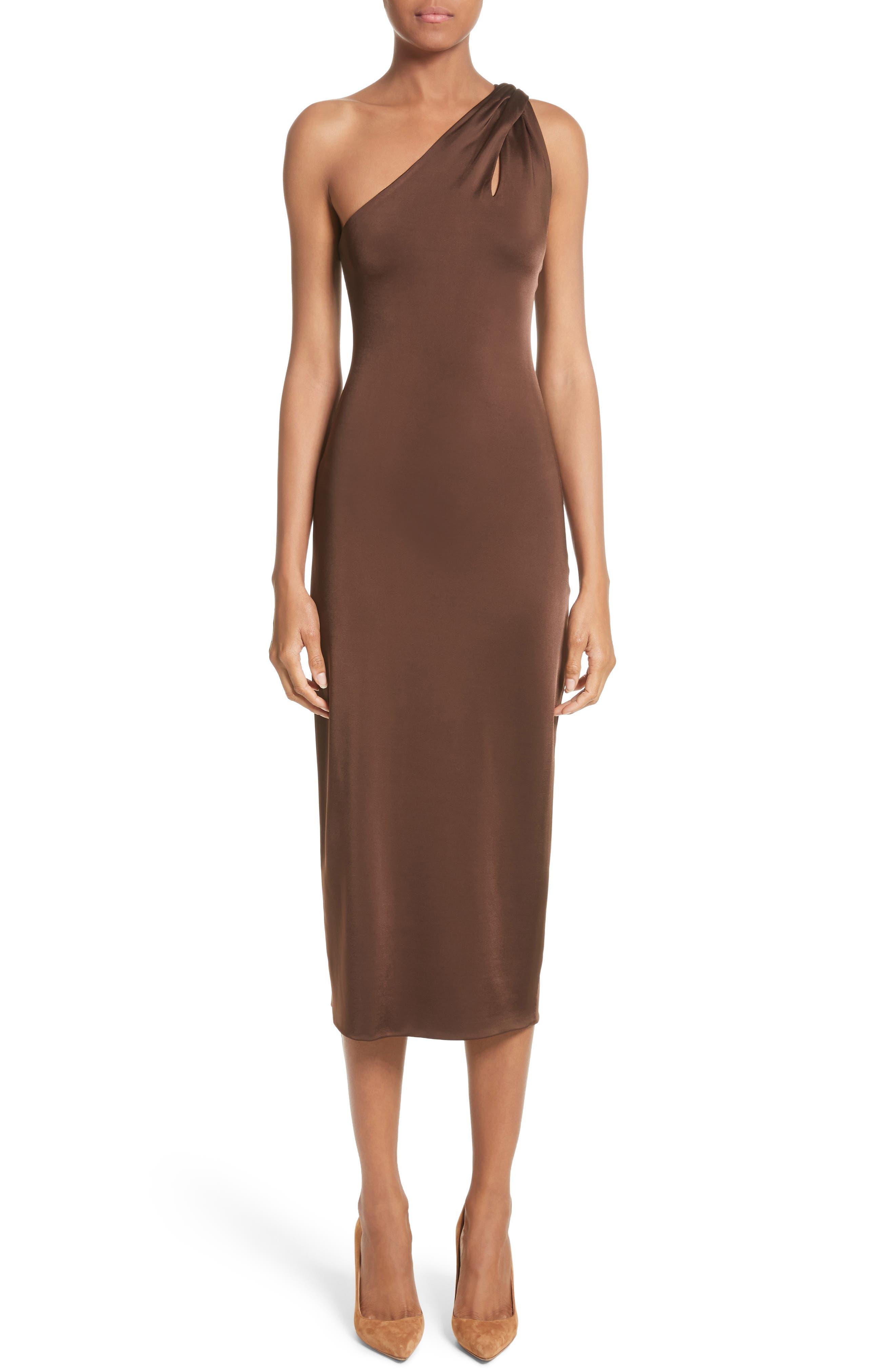 Jersey One-Shoulder Dress,                             Main thumbnail 1, color,                             Umber