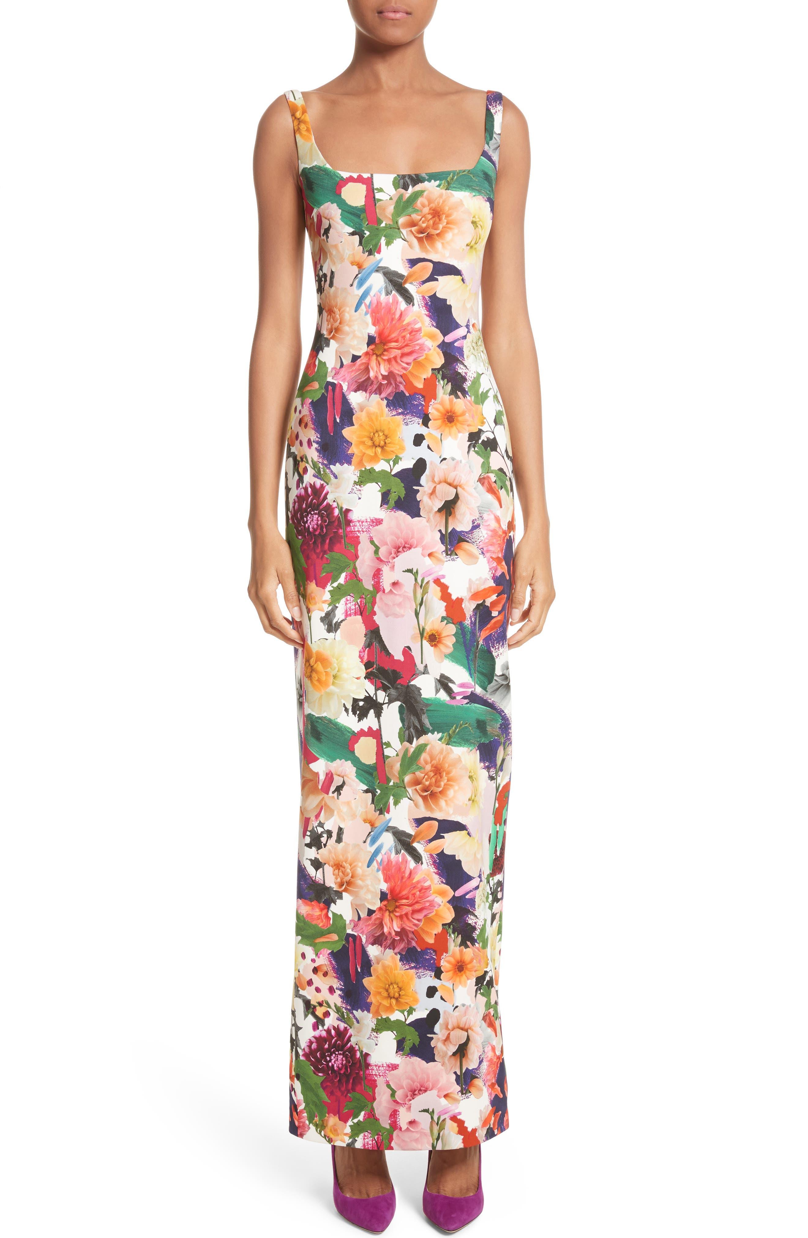 Floral Print Sheath Gown,                         Main,                         color, Surrealist Floral