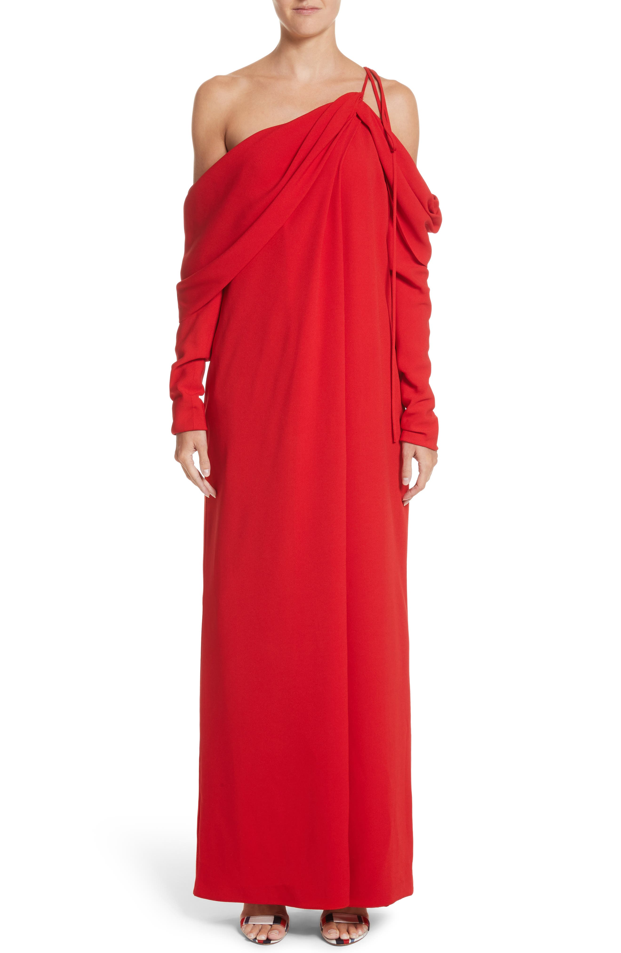 Cowl Sleeve Gown,                             Alternate thumbnail 8, color,                             Red
