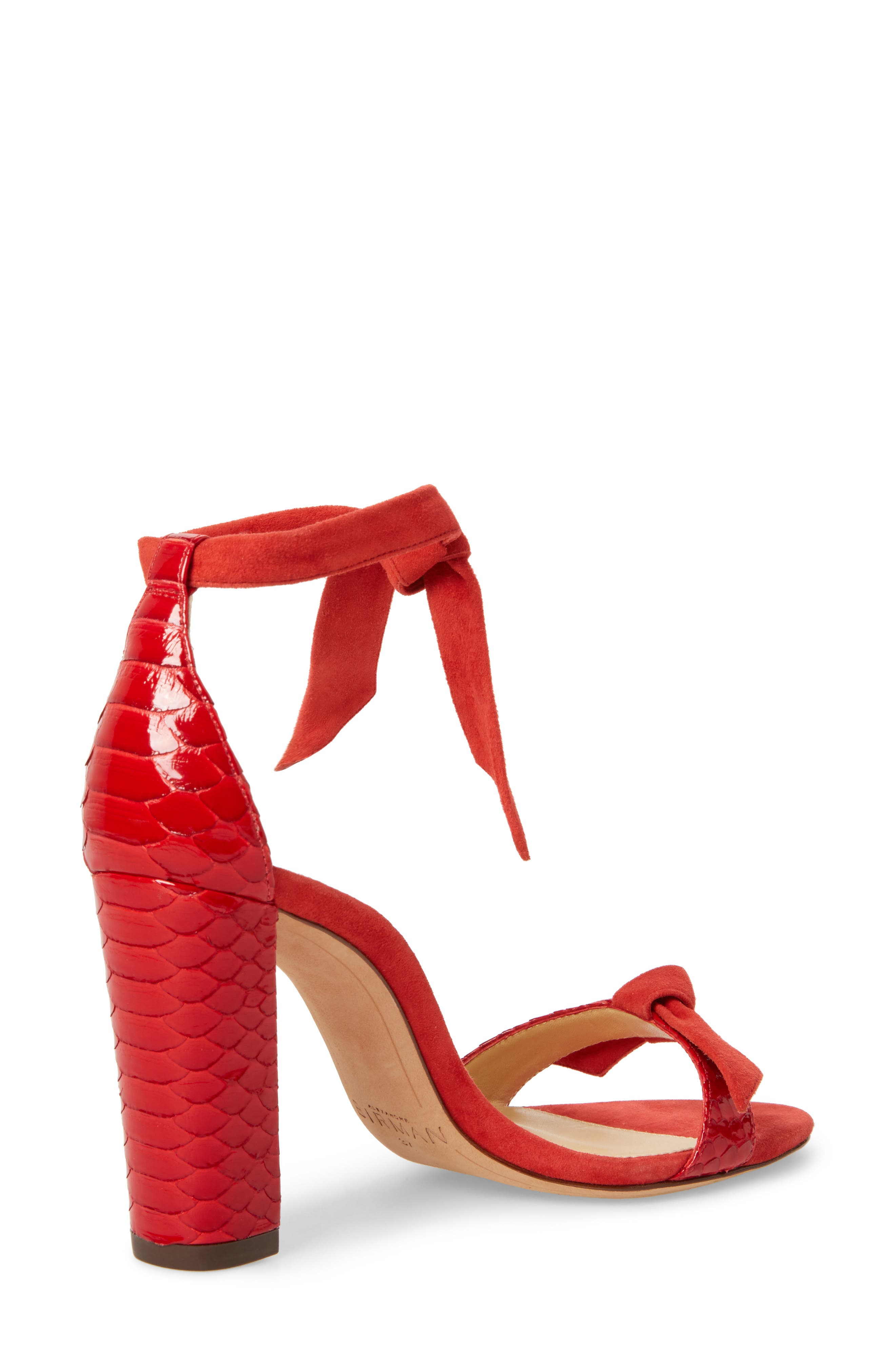 Clarita Genuine Python Ankle Tie Sandal,                             Alternate thumbnail 2, color,                             Flame Red