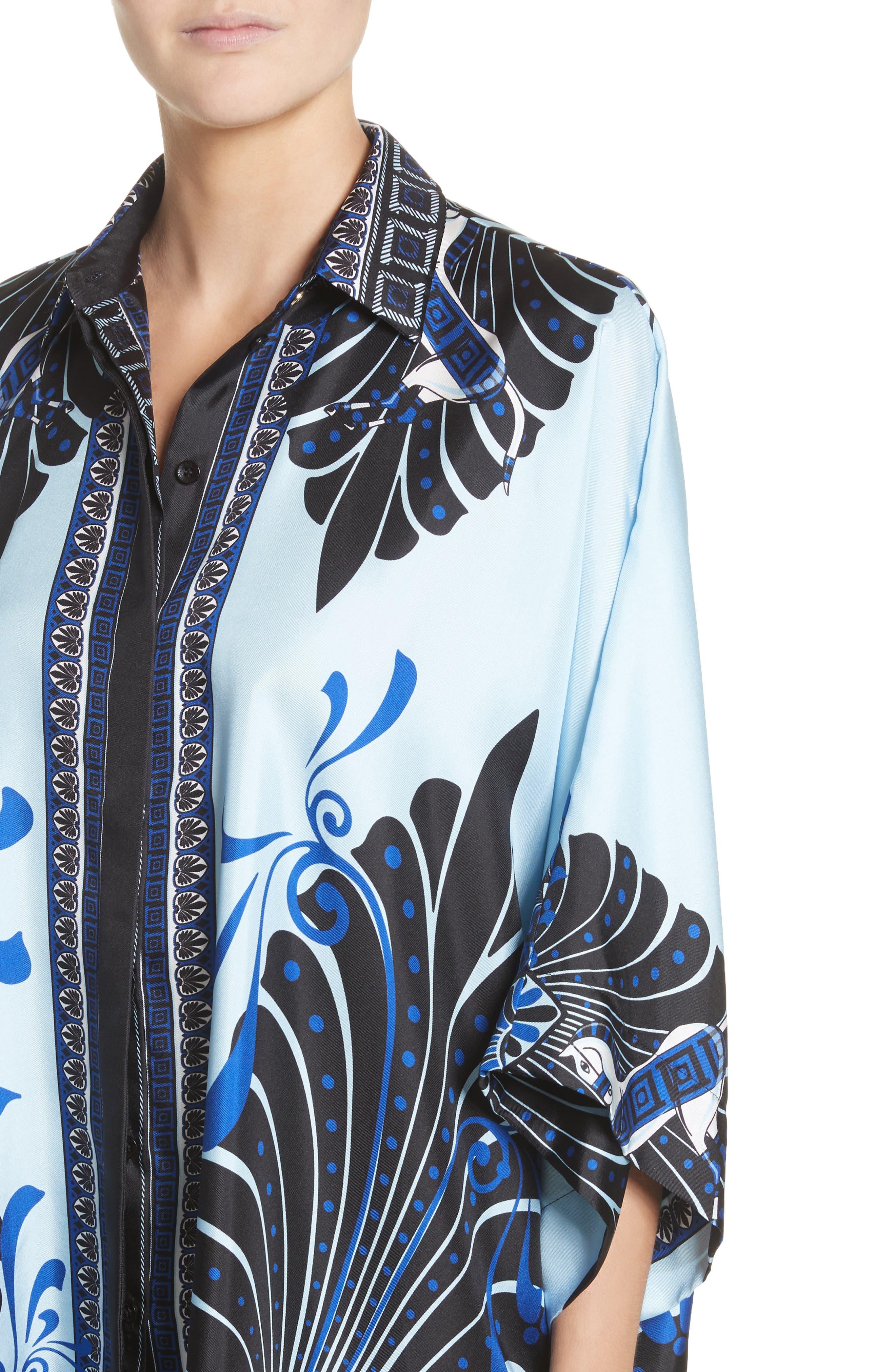 Eros Wide Sleeve Silk Shirt,                             Alternate thumbnail 4, color,                             Light Blue/ Print