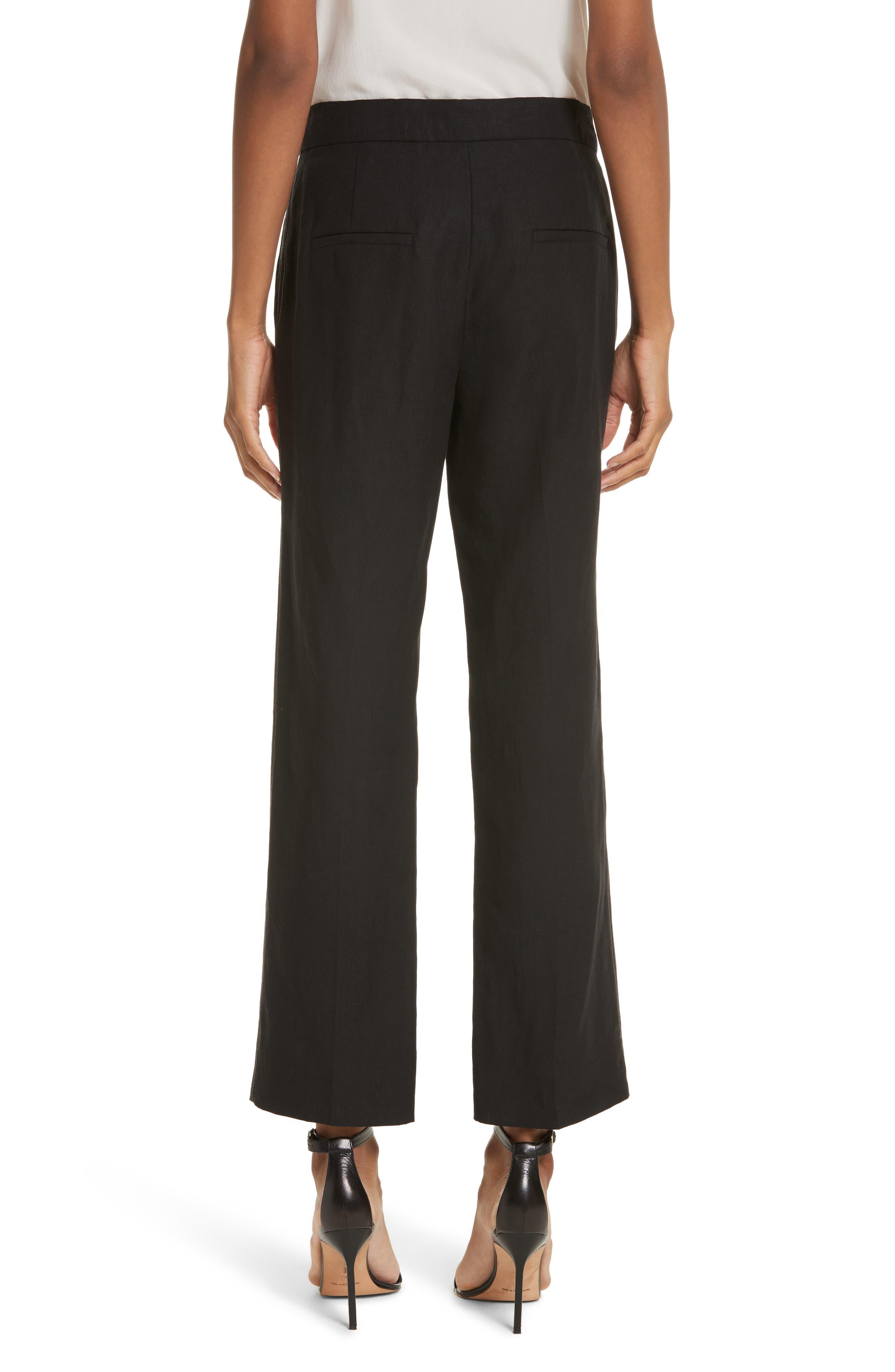 Luigia Linen Crop Flare Pants,                             Alternate thumbnail 2, color,                             Black