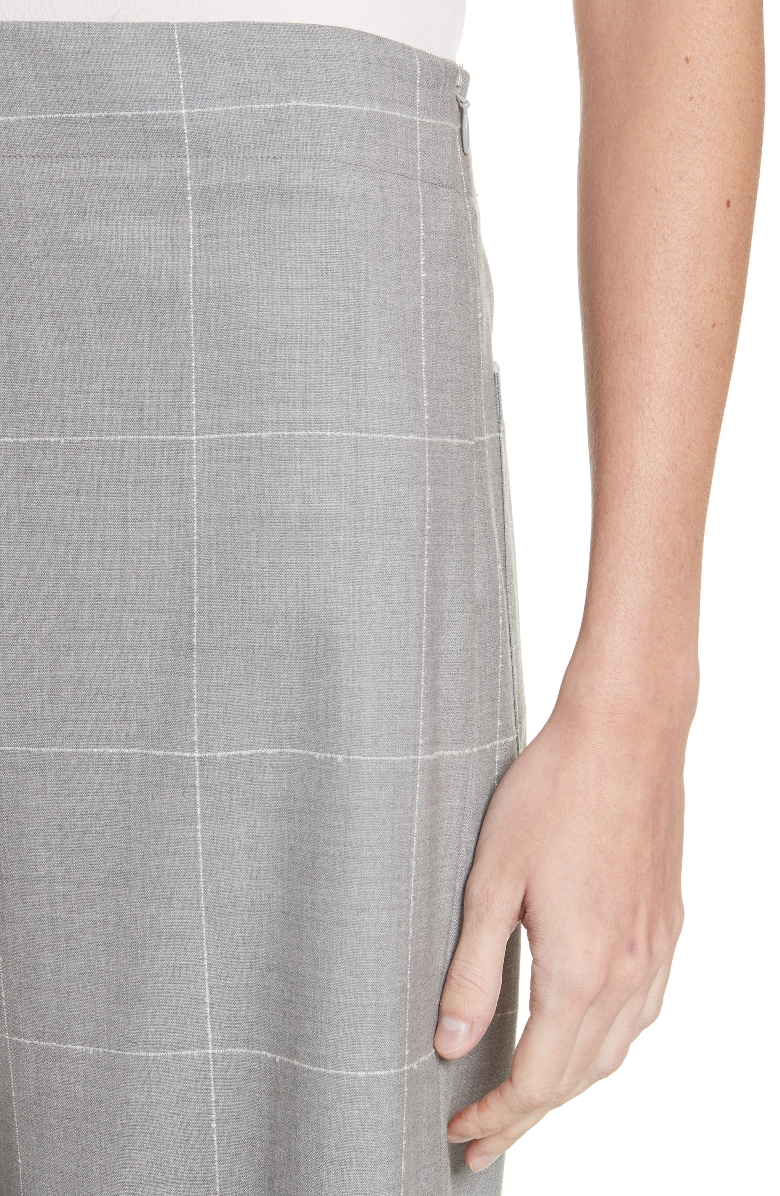 Windowpane Check Wool Wide Leg Crop Pants,                             Alternate thumbnail 4, color,                             Grey/ Ivory
