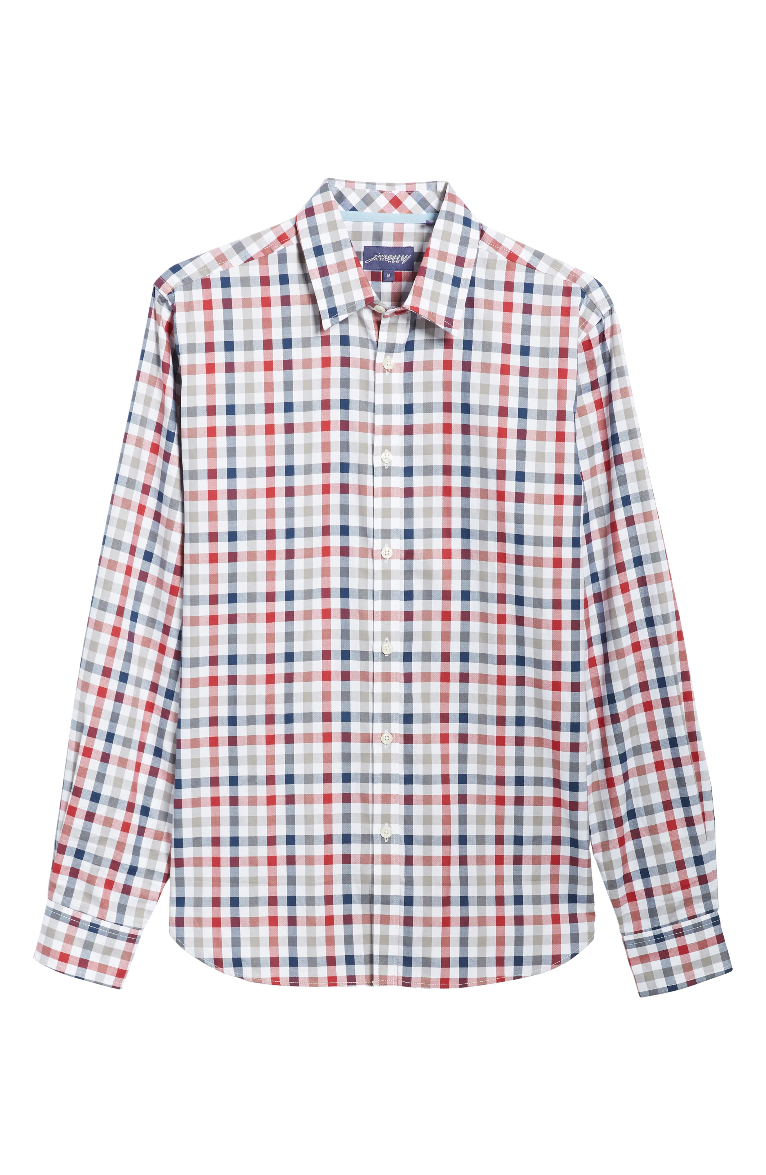 Fitted Check Sport Shirt,                             Alternate thumbnail 6, color,                             Medium Red