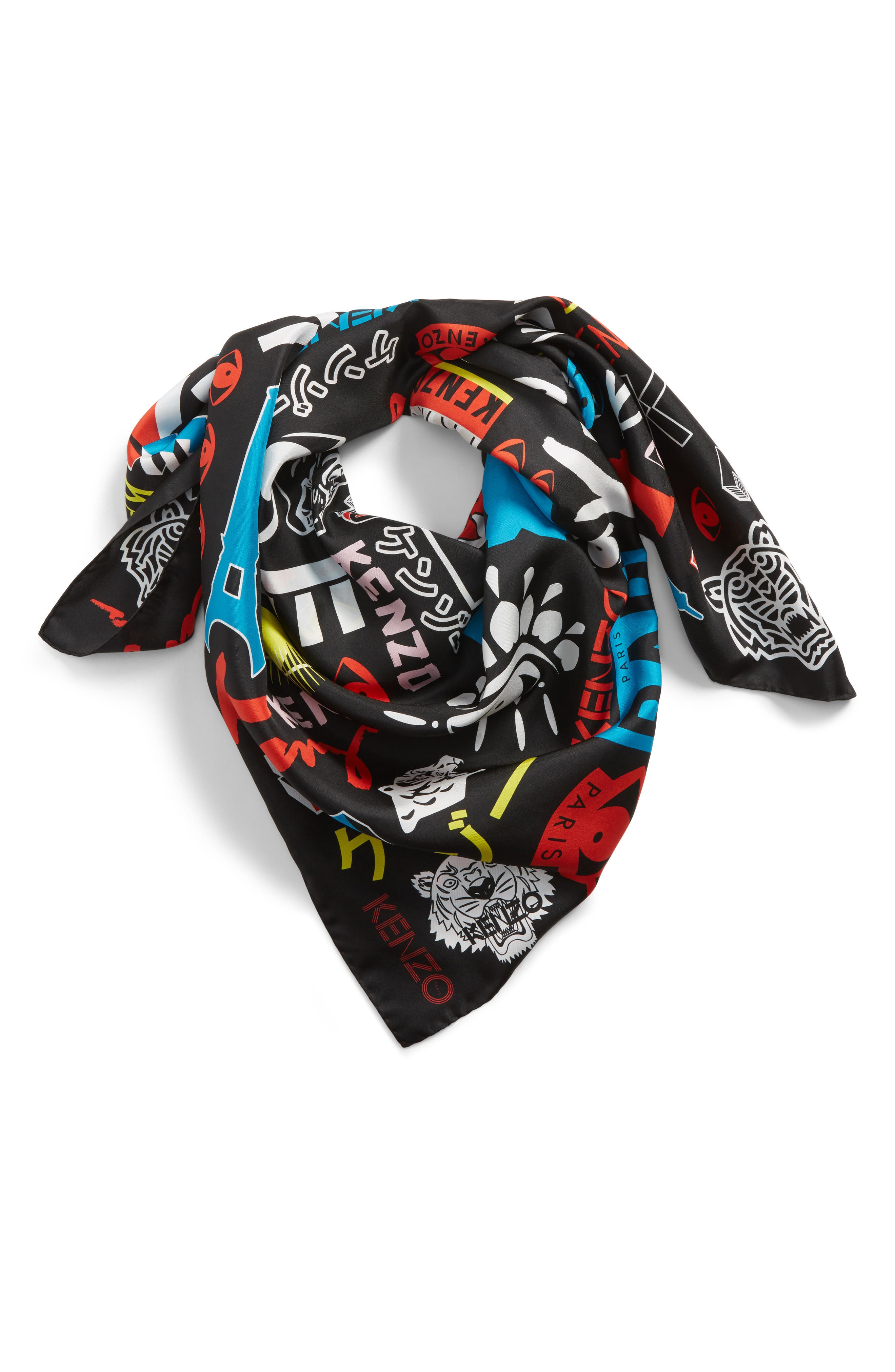 Tiger Poster Silk Square Scarf,                             Alternate thumbnail 2, color,                             Black