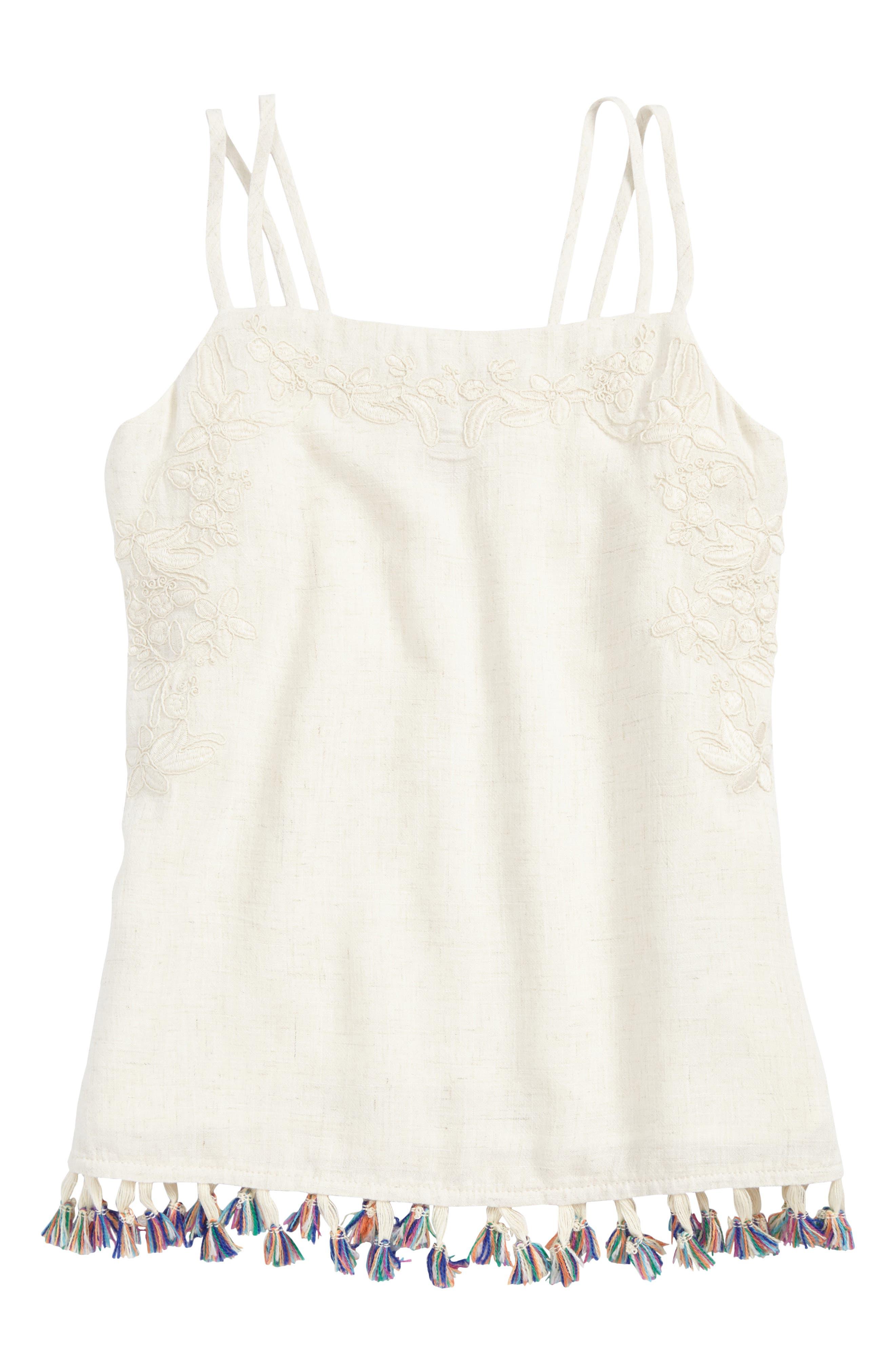 Alternate Image 1 Selected - For All Seasons Embroidered Linen Tassel Tank (Big Girls)