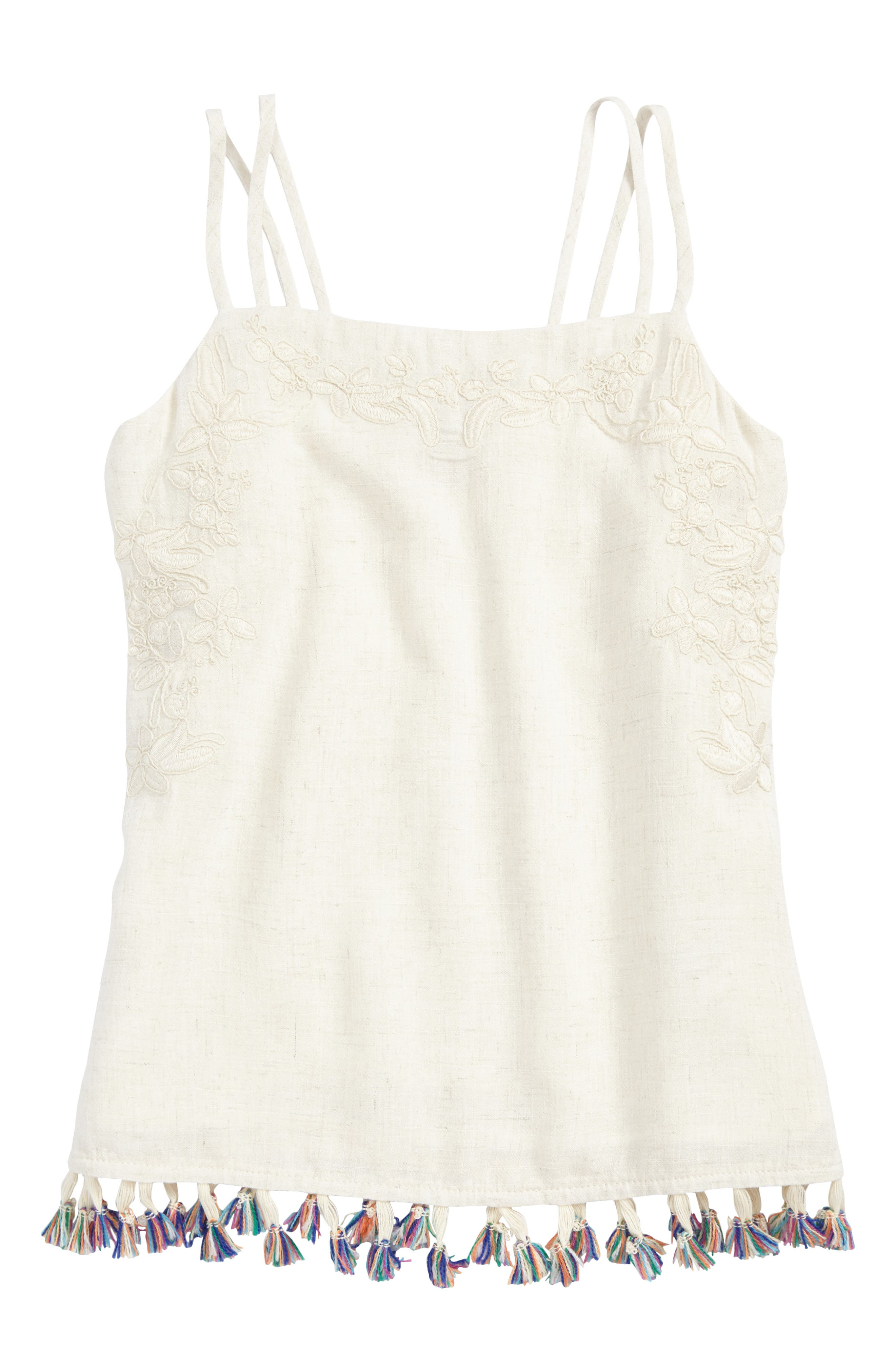 Main Image - For All Seasons Embroidered Linen Tassel Tank (Big Girls)