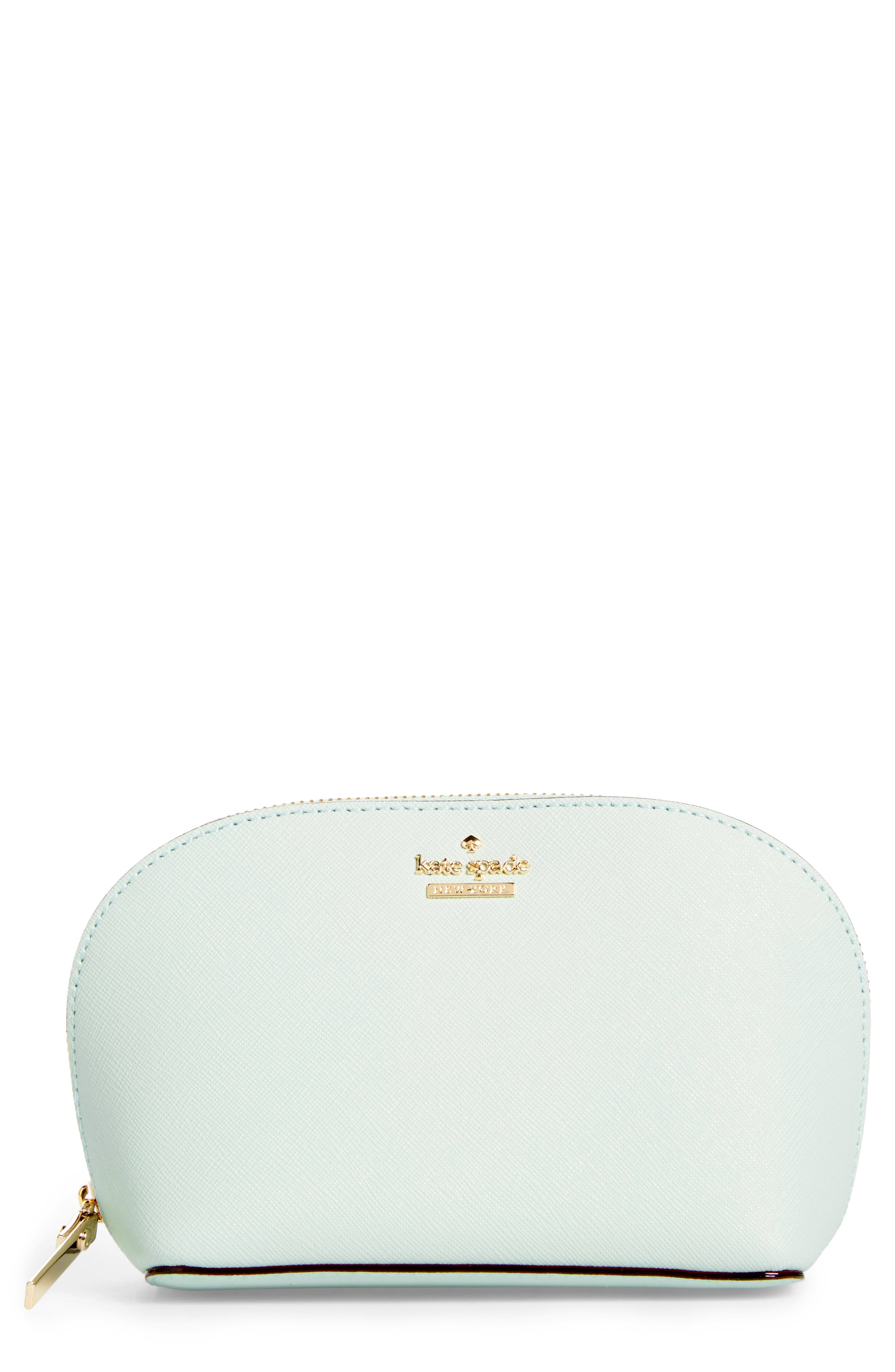 cameron street - small abalene leather cosmetics bag,                             Main thumbnail 1, color,                             Misty Mint