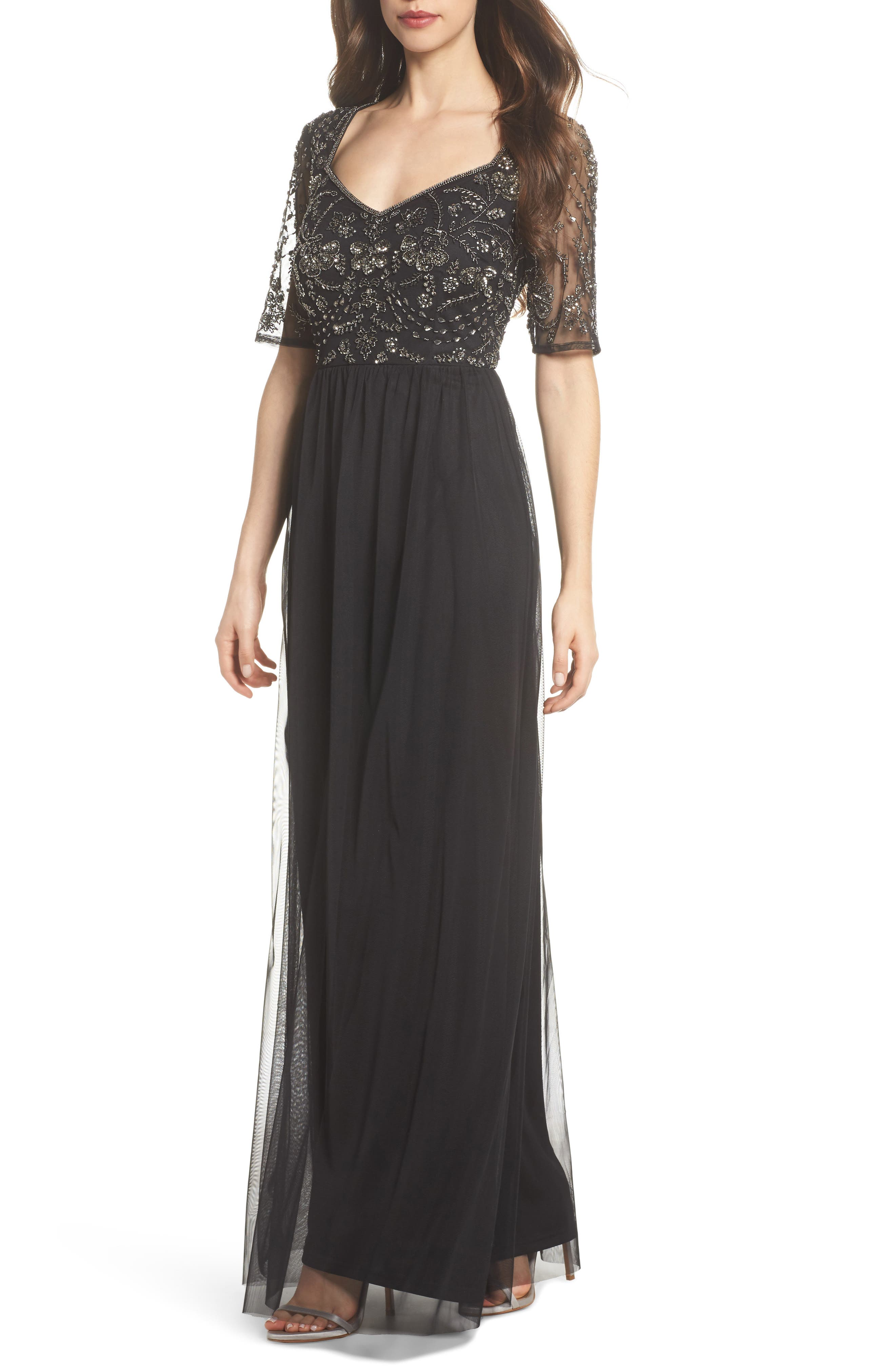 Beaded Bodice Tulle Gown,                         Main,                         color, Black