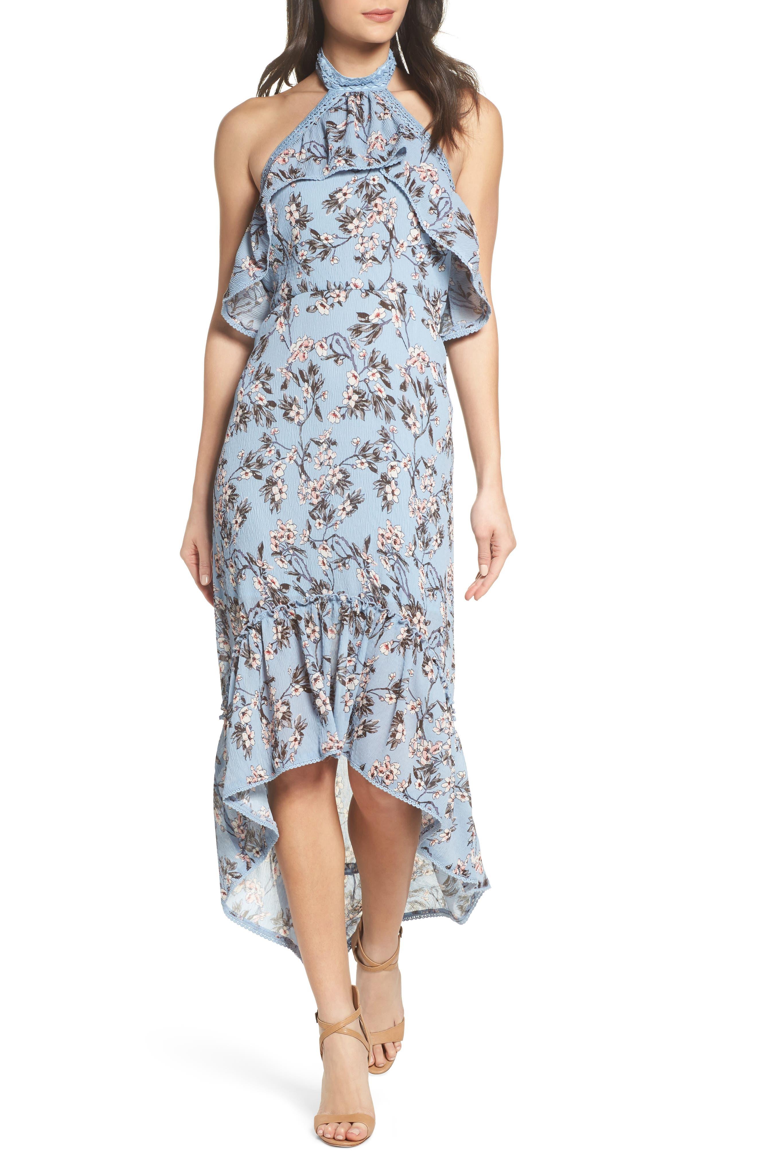 Floral Print High/Low Halter Dress,                             Main thumbnail 1, color,                             Blue Madison Floral