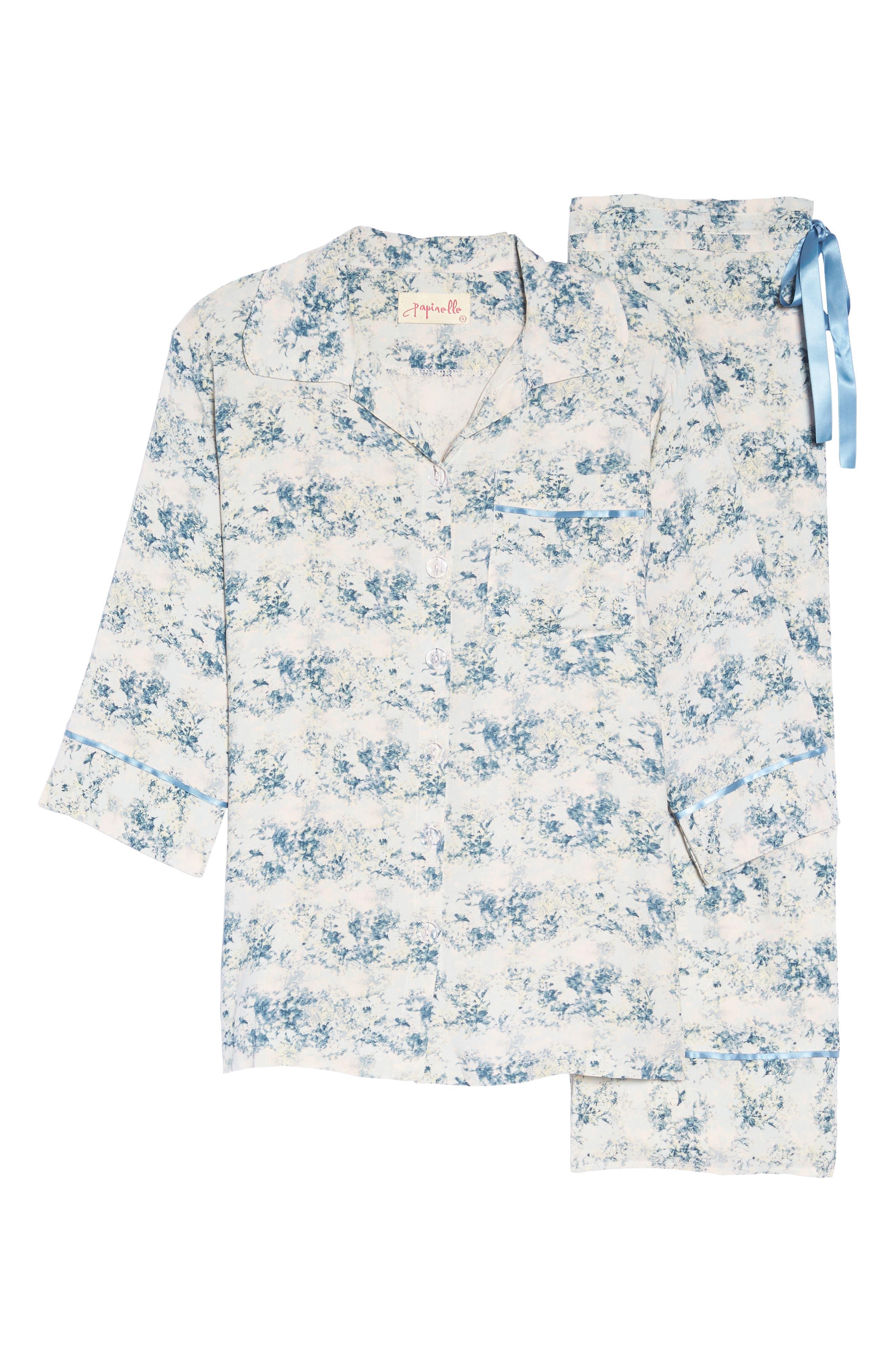 Floral Print Crop Pajamas,                             Alternate thumbnail 4, color,                             Blue