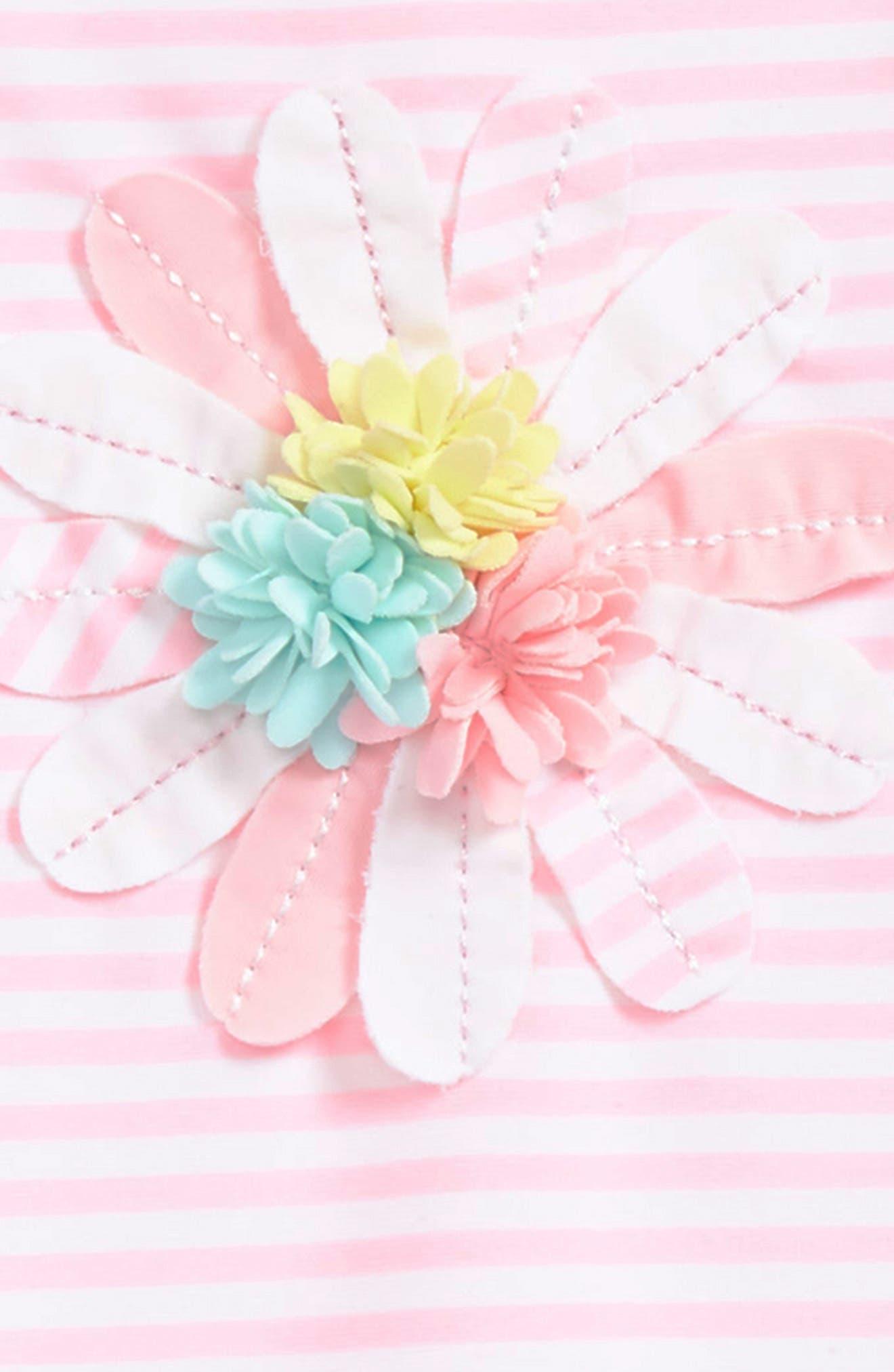 Floral Appliqué One-Piece Rashguard Swimsuit,                             Alternate thumbnail 2, color,                             Pink Stripe