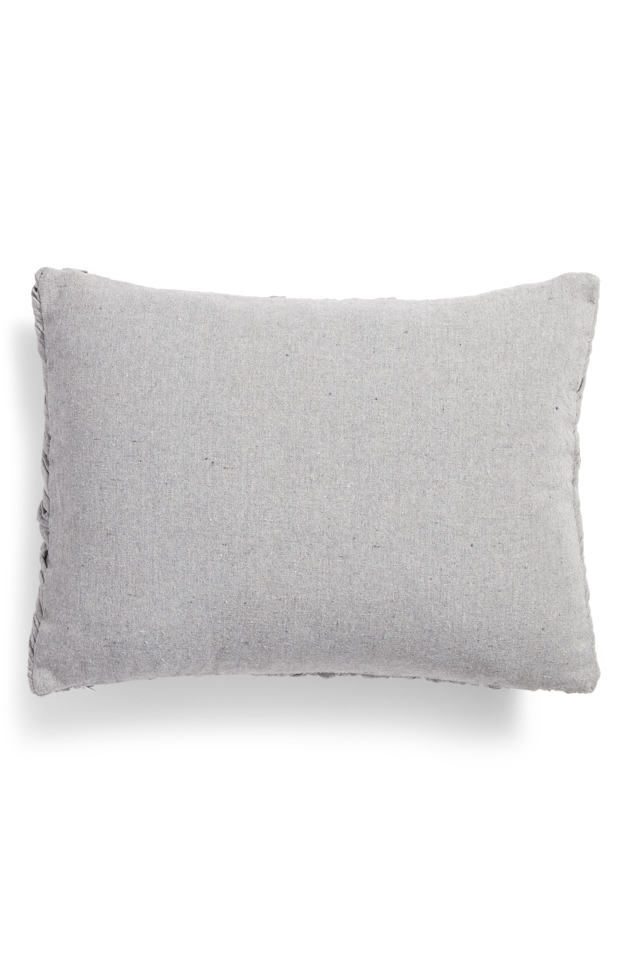 Remie Ruched Accent Pillow,                             Alternate thumbnail 3, color,                             Grey