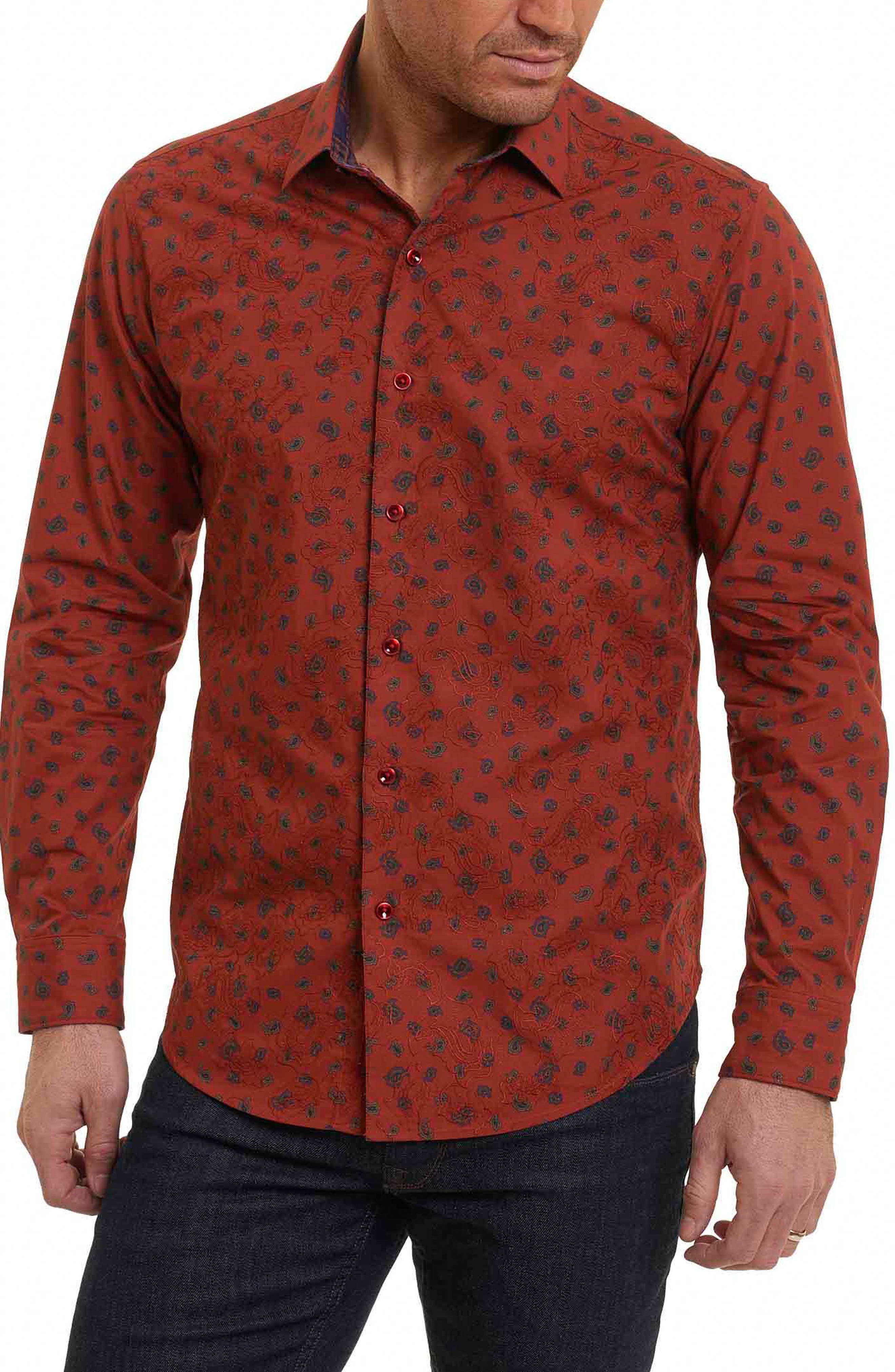 Cold Spring Classic Fit Paisley Sport Shirt,                             Main thumbnail 1, color,                             Red