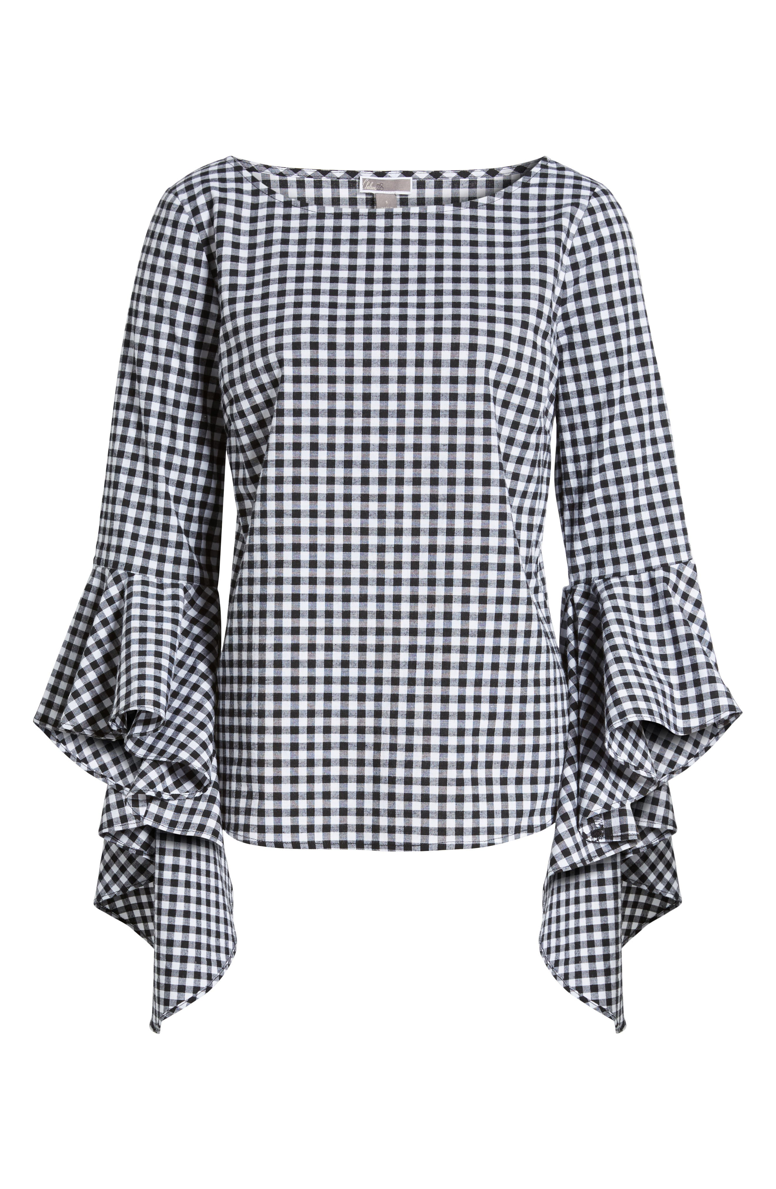 Gingham Ruffle Sleeve Top,                             Alternate thumbnail 6, color,                             Black- White Gingham