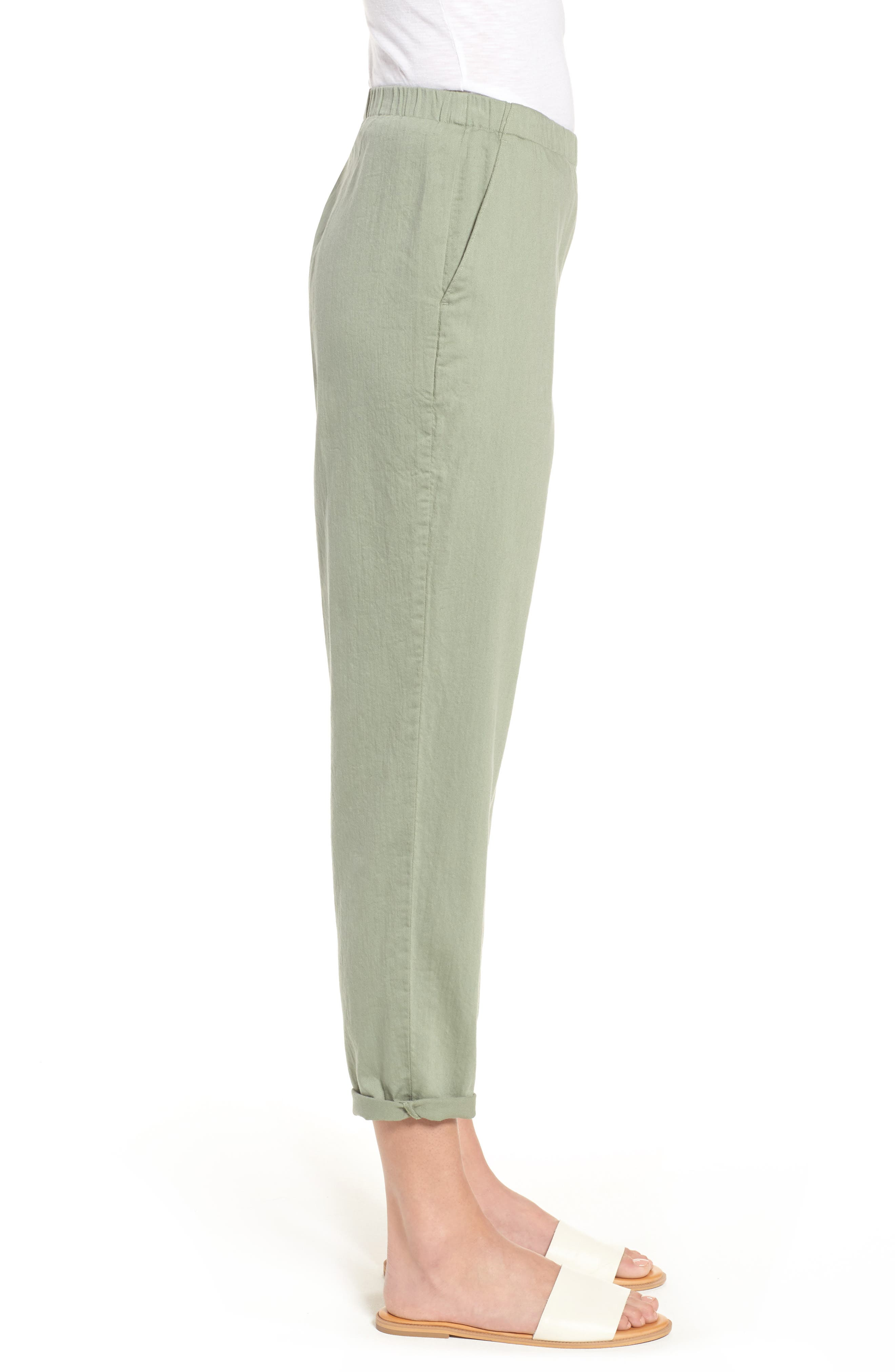 Organic Cotton Tapered Ankle Pants,                             Alternate thumbnail 3, color,                             Glen
