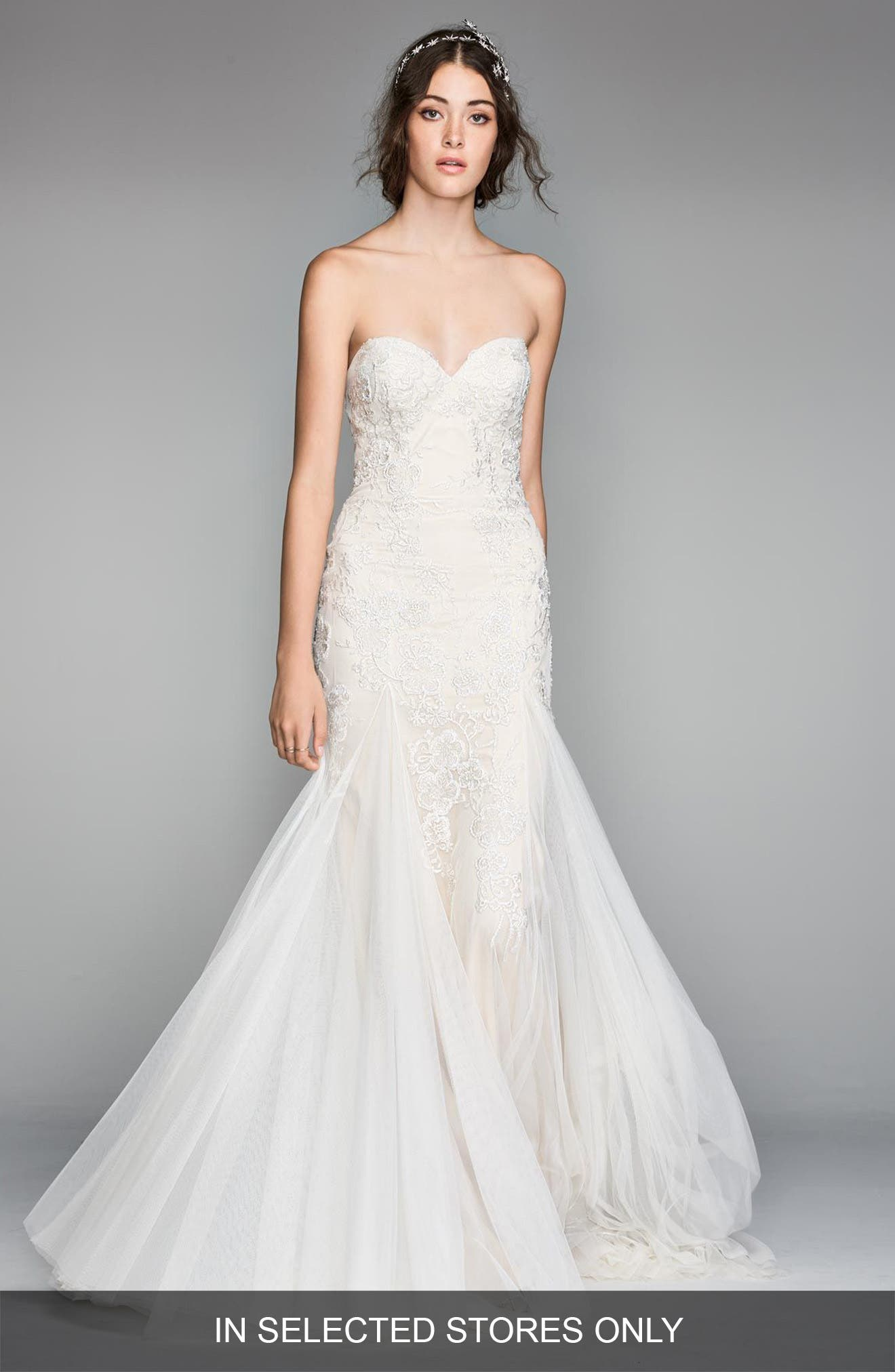 Lian Lace & Tulle Mermaid Gown,                         Main,                         color, Ivory/ Nude