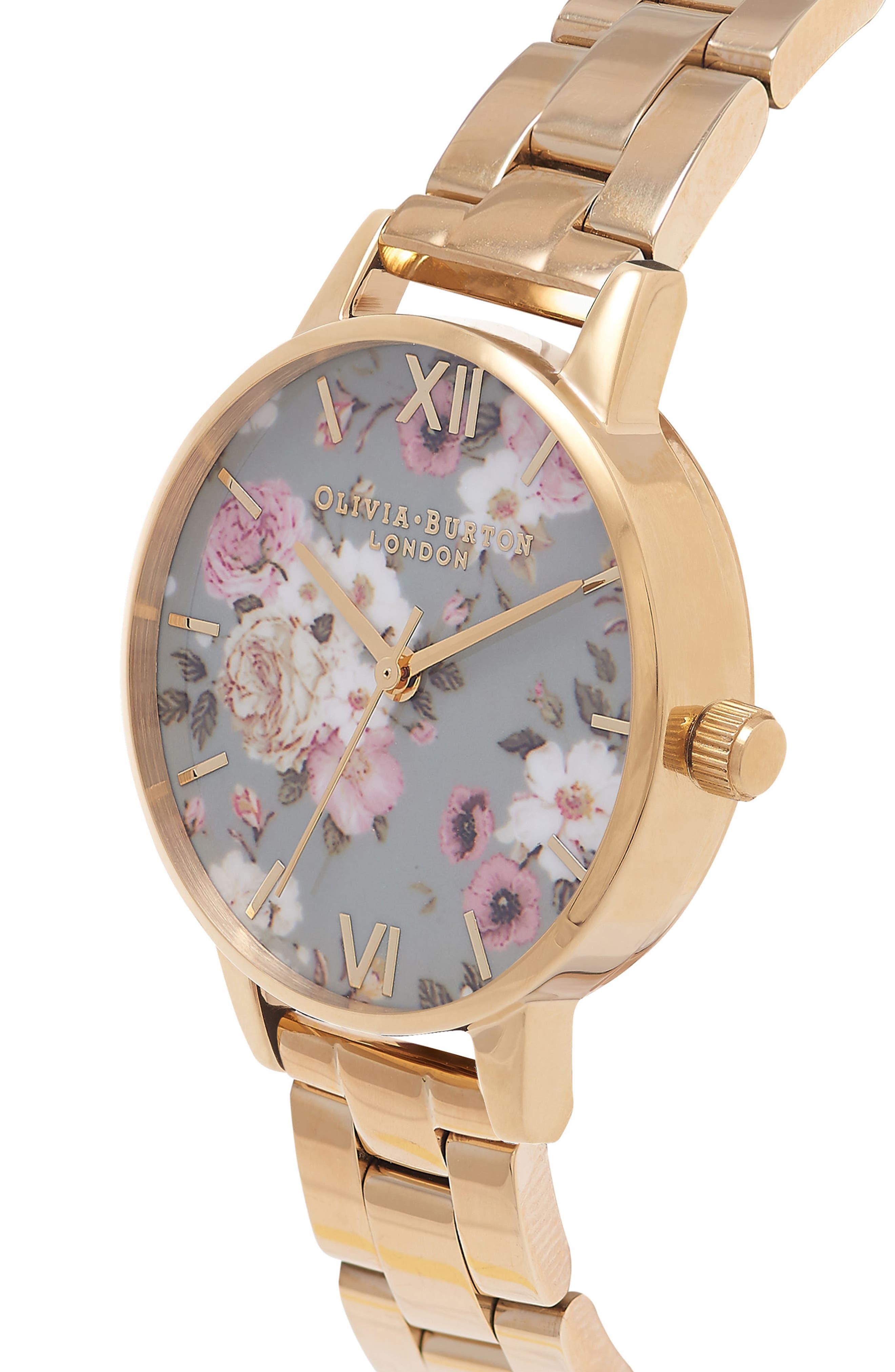 Winter Garden Bracelet Watch, 30mm,                             Alternate thumbnail 3, color,                             Gold/ Grey Floral/ Gold
