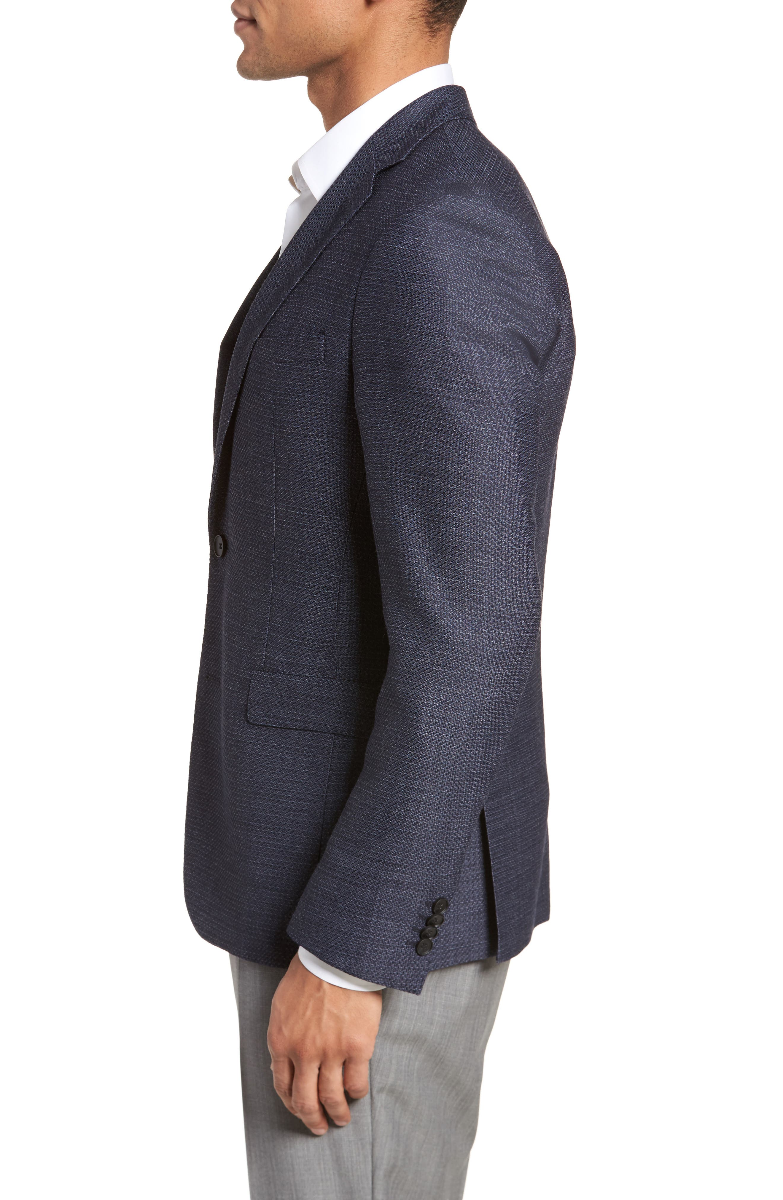 Roan Extra Trim Fit Stretch Wool Blend Blazer,                             Alternate thumbnail 3, color,                             Navy