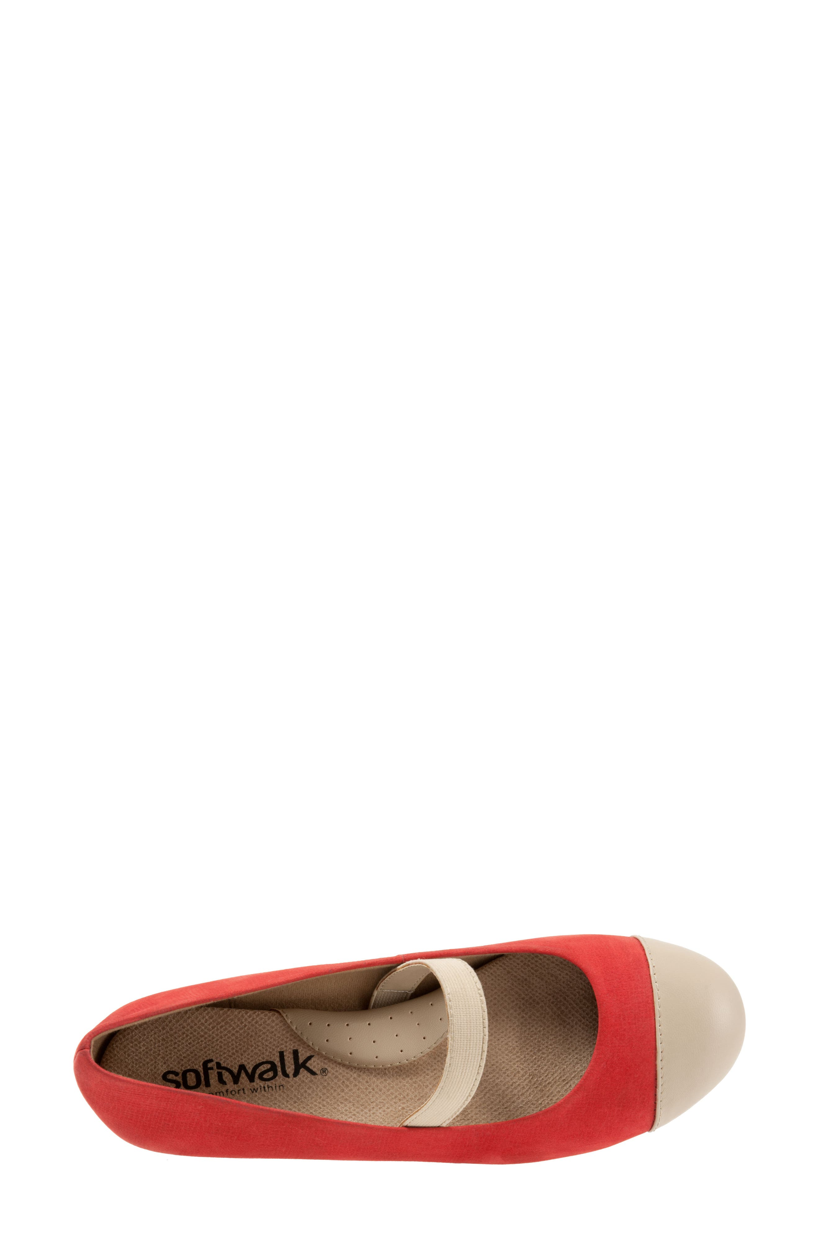 Napa Mary Jane Flat,                             Alternate thumbnail 5, color,                             Red/ Nude Leather
