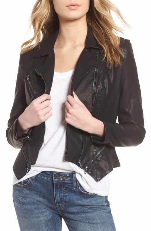 Blank NYC Black Embroidered Vegan Leather Moto Jacket 1
