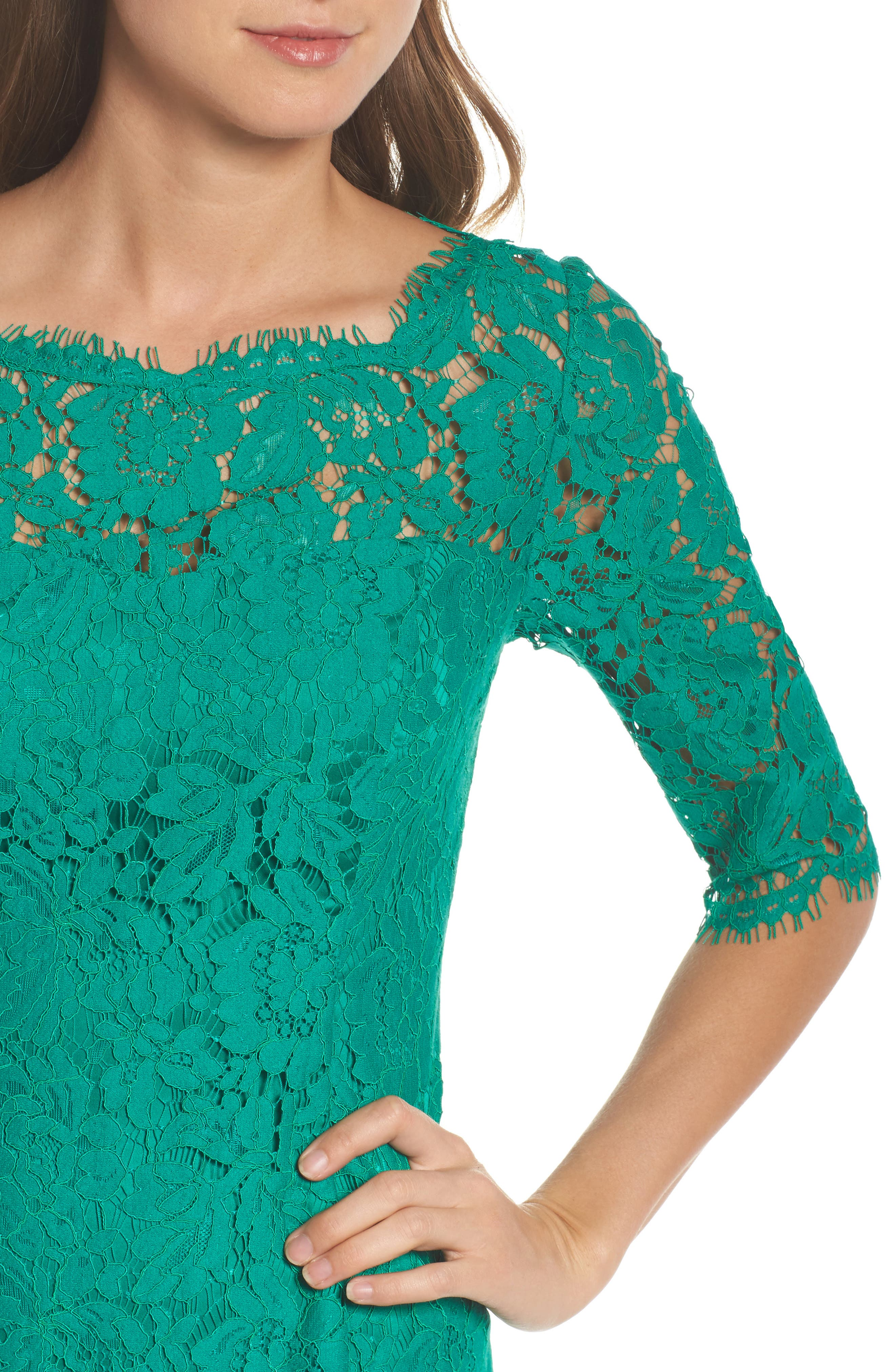 Lace Fit & Flare Dress,                             Alternate thumbnail 4, color,                             Green