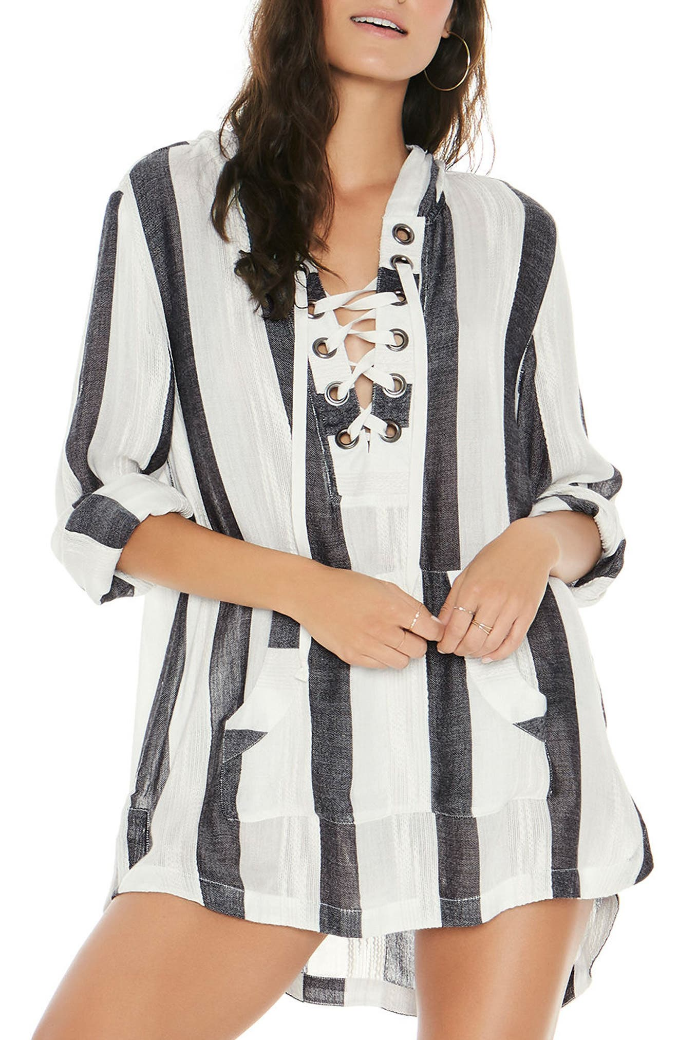 Love Letters Cover-Up Tunic,                             Main thumbnail 1, color,                             Beach Bum Stripe