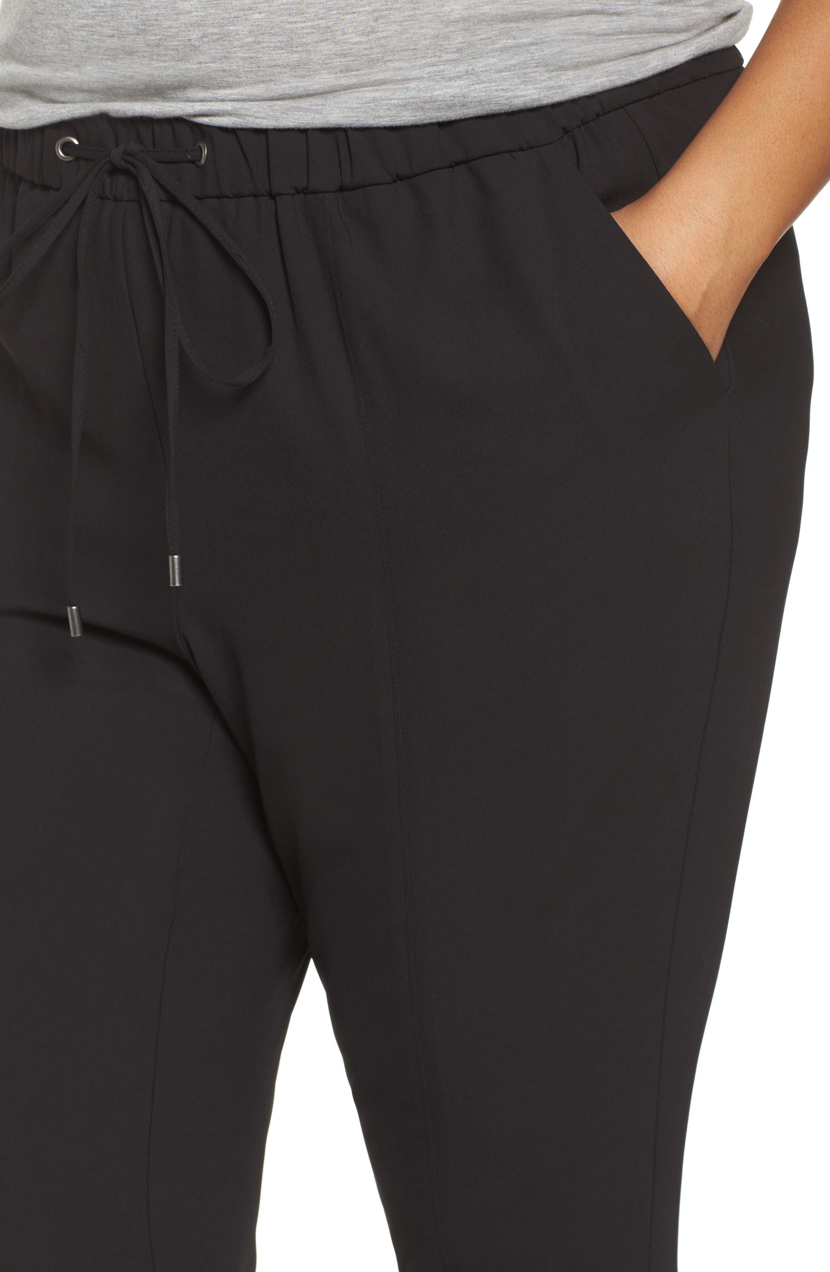 Drawstring Waist Woven Jogger Pants,                             Alternate thumbnail 4, color,                             Black