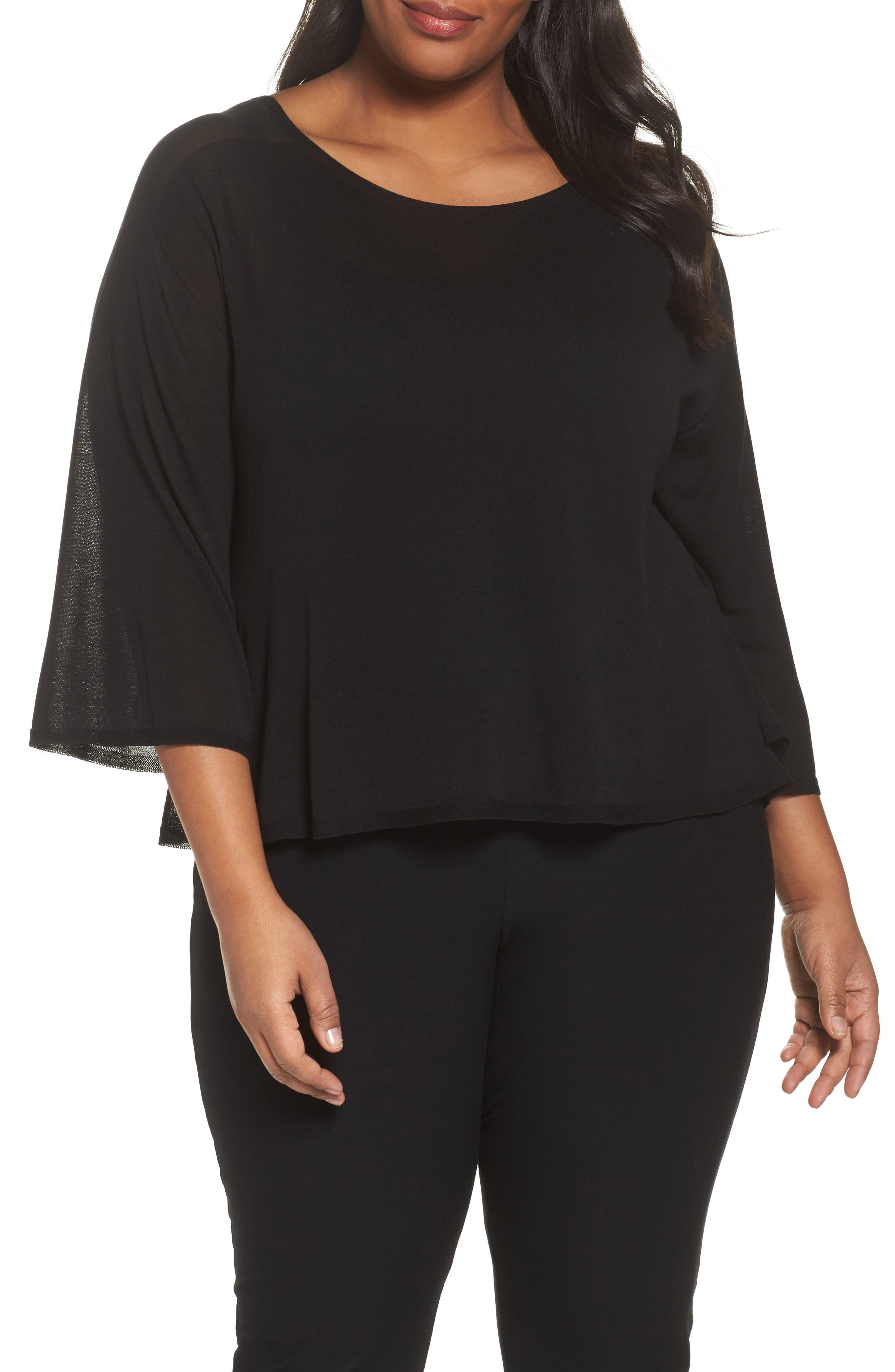 Tencel<sup>®</sup> Lyocell Lyocell Knit Sweater,                             Main thumbnail 1, color,                             Black