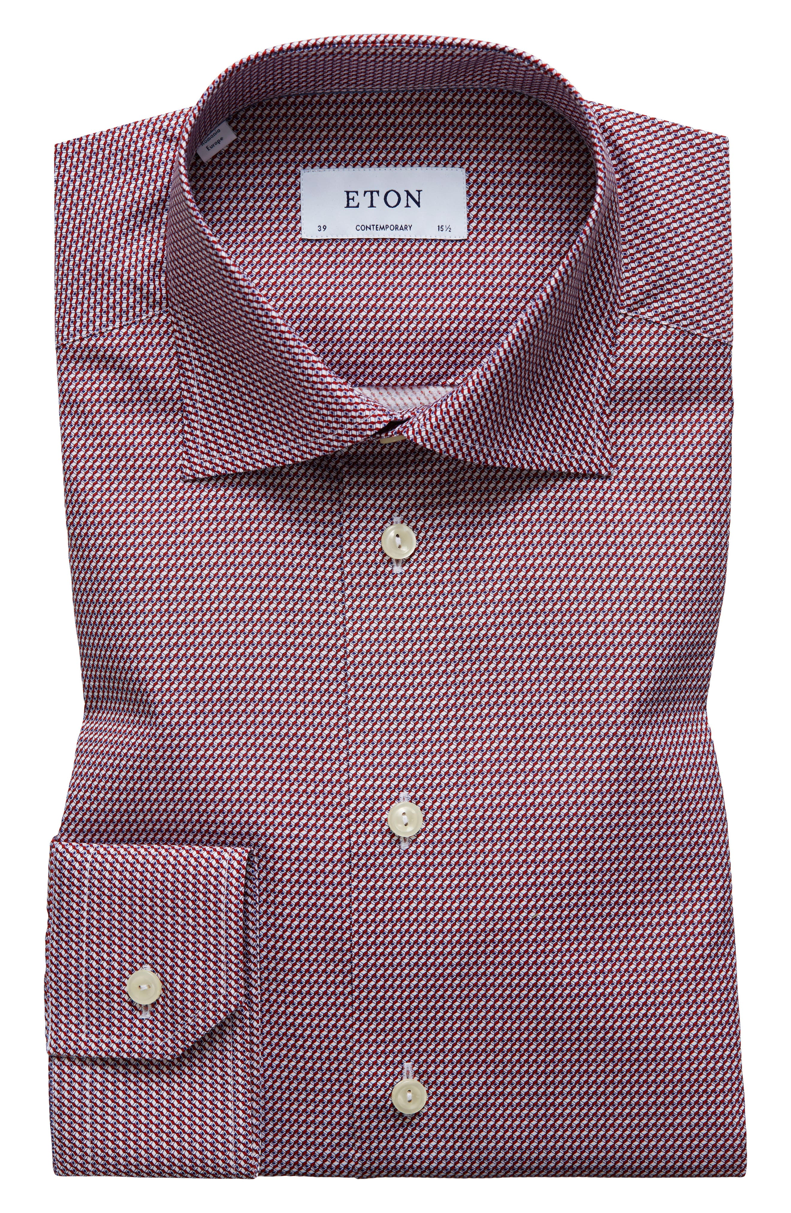 Contemporary Fit Geometric Dress Shirt,                             Main thumbnail 1, color,                             Red