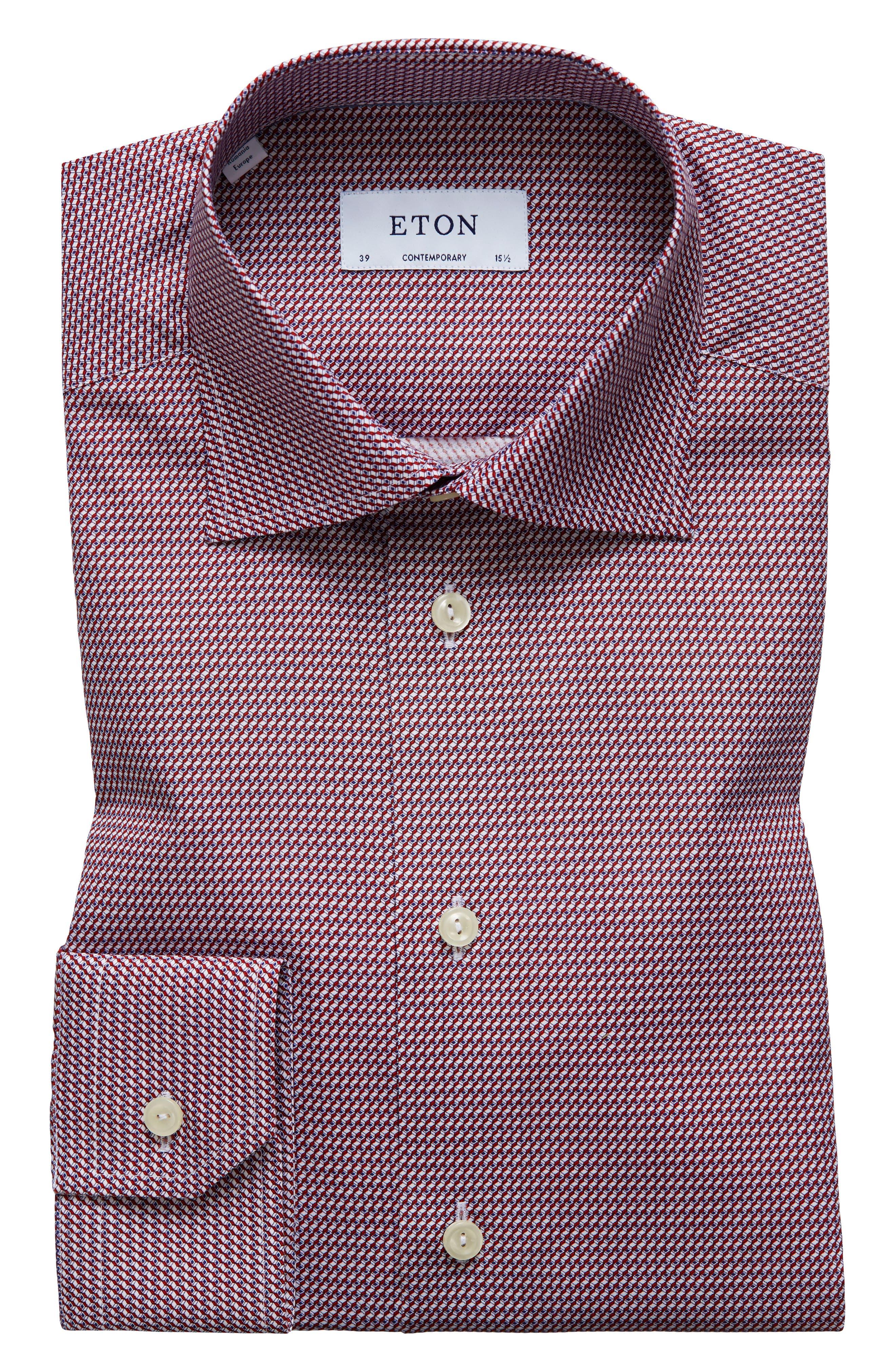 Eton Contemporary Fit Geometric Dress Shirt