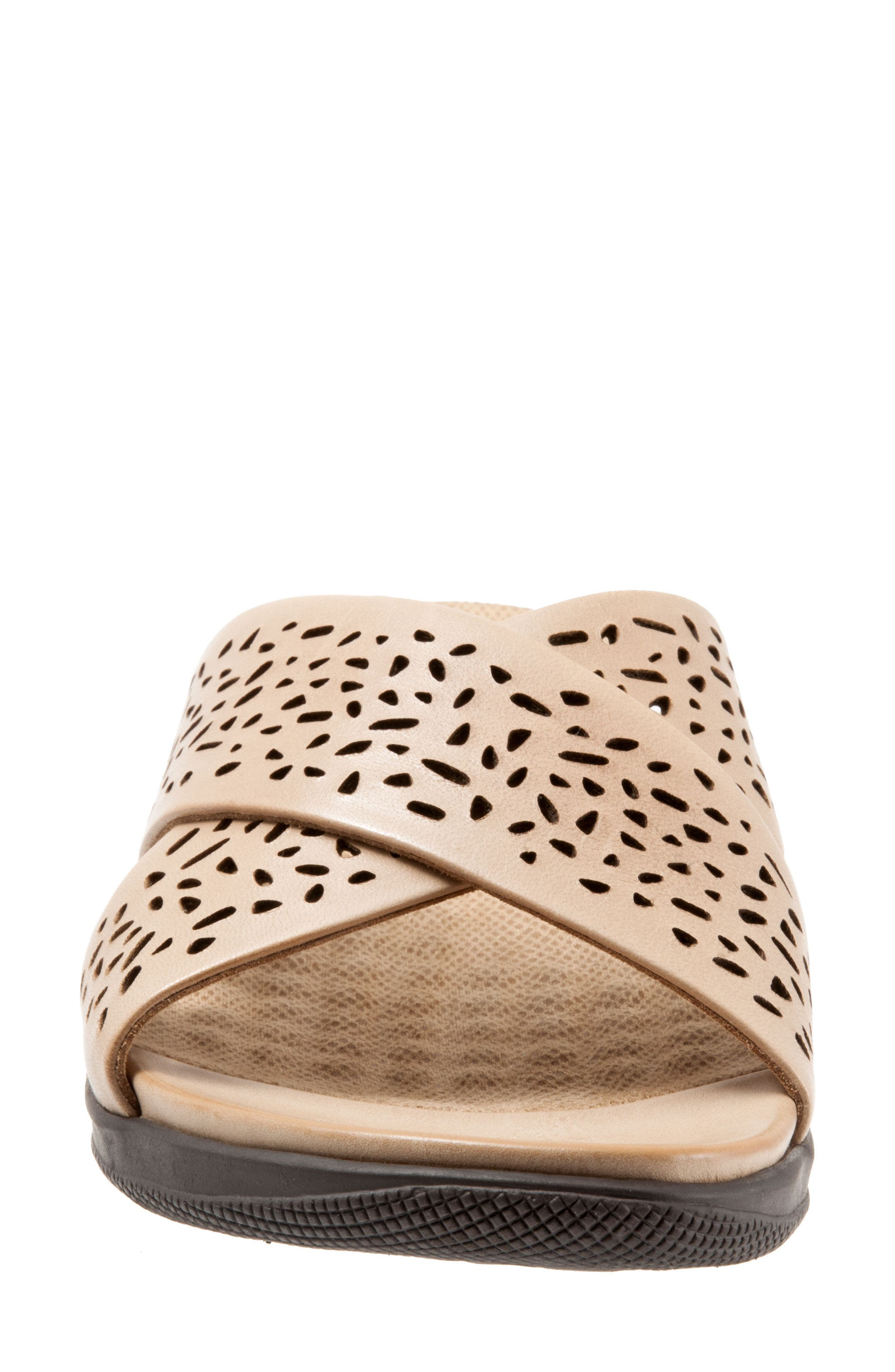 'Tillman' Leather Cross Strap Slide Sandal,                             Alternate thumbnail 4, color,                             Cement Leather