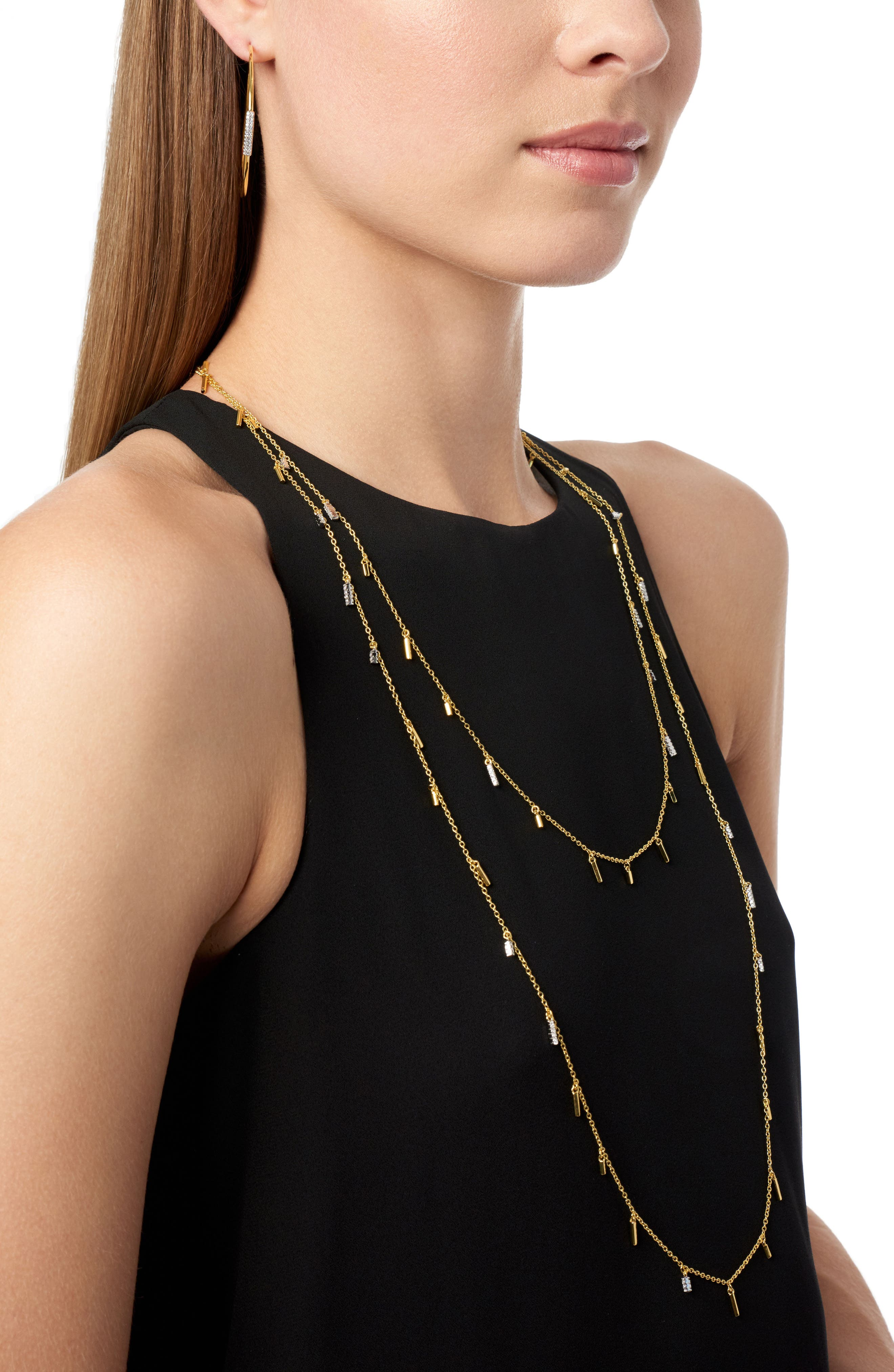 Radiance Droplet Cubic Zirconia Station Necklace,                             Alternate thumbnail 4, color,                             Silver/ Gold