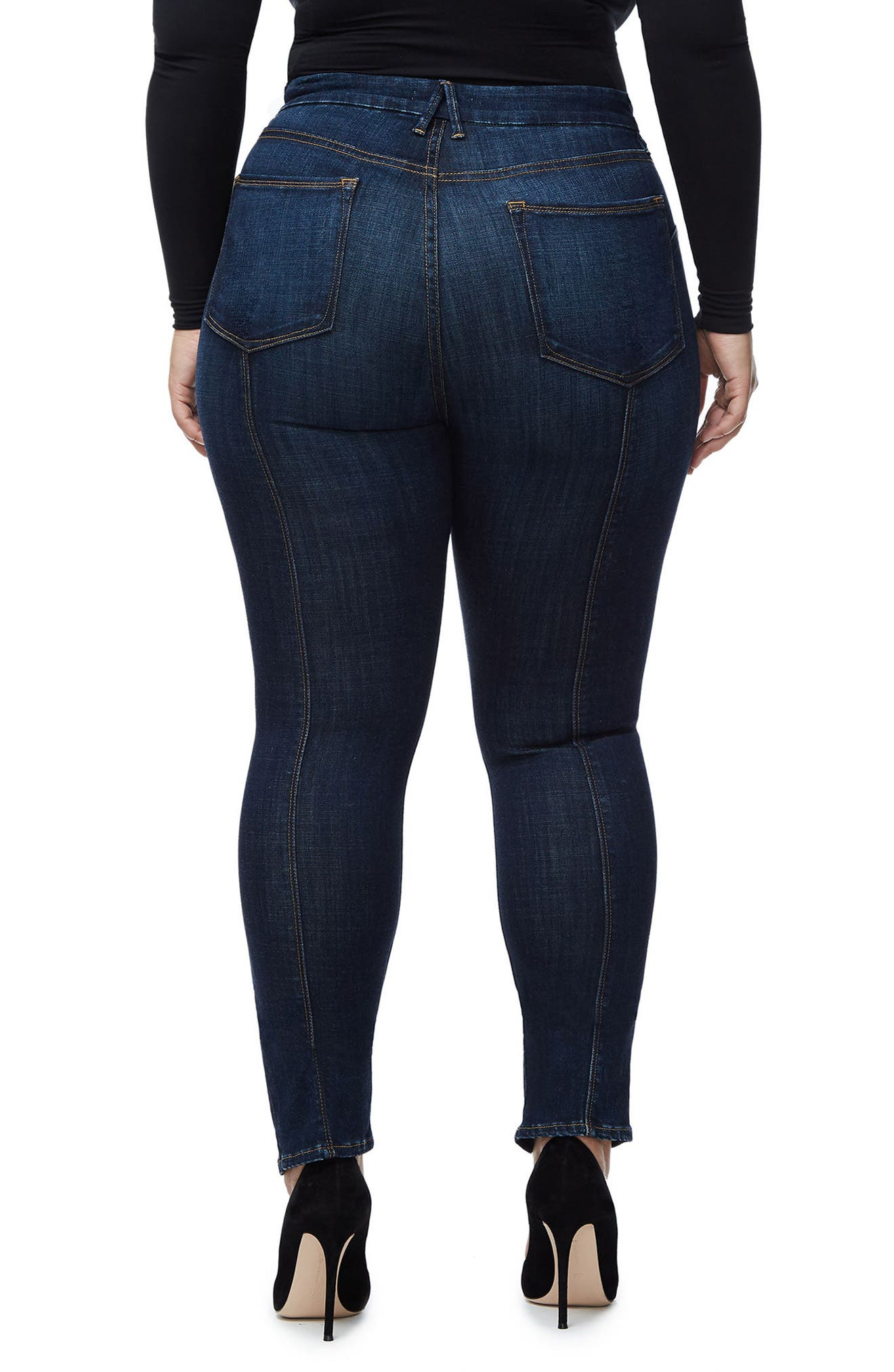 Alternate Image 6  - Good American Good Legs Crop Skinny Jeans (Blue 025) (Regular & Plus Size)
