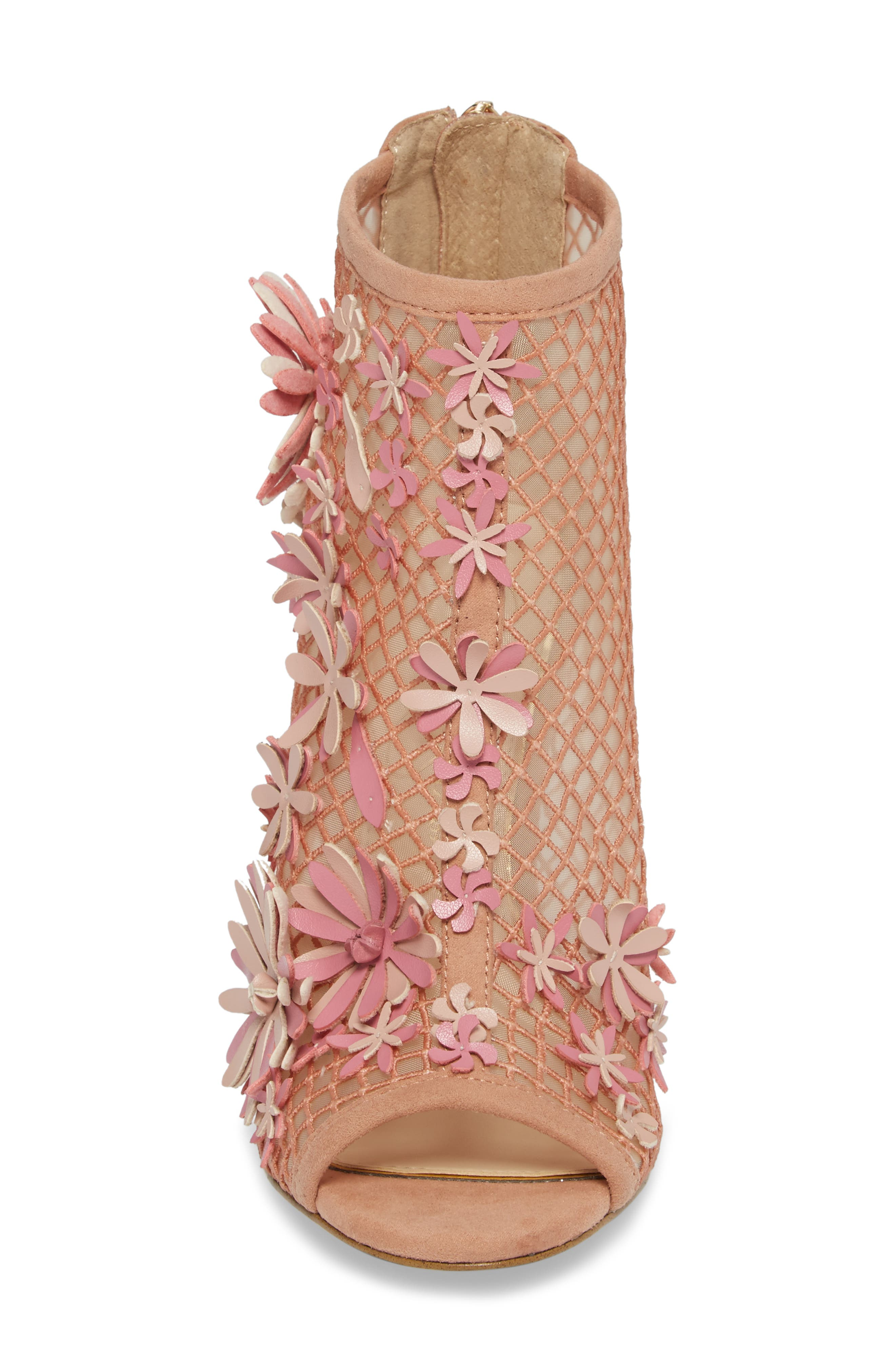 Jayko Flower Mesh Bootie,                             Alternate thumbnail 4, color,                             Nude Blush