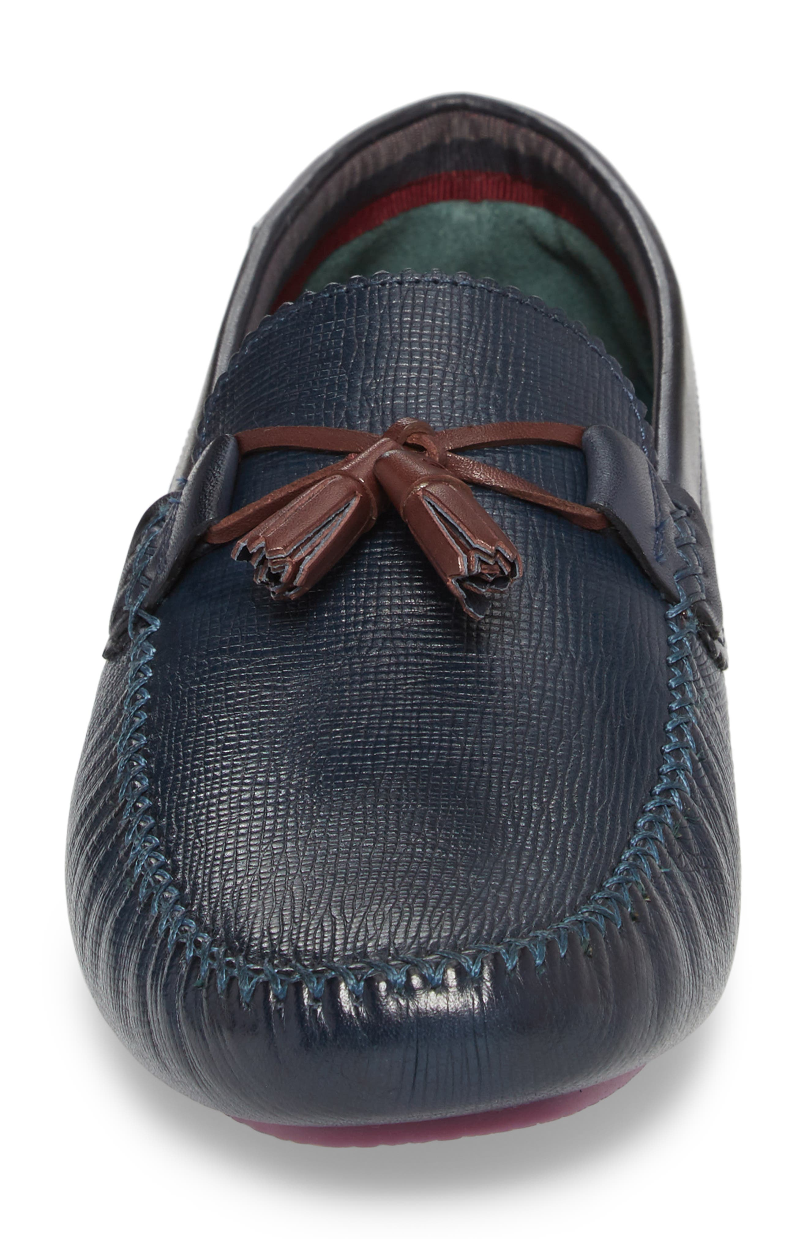 Urbonn Tasseled Driving Loafer,                             Alternate thumbnail 4, color,                             Dark Blue Leather