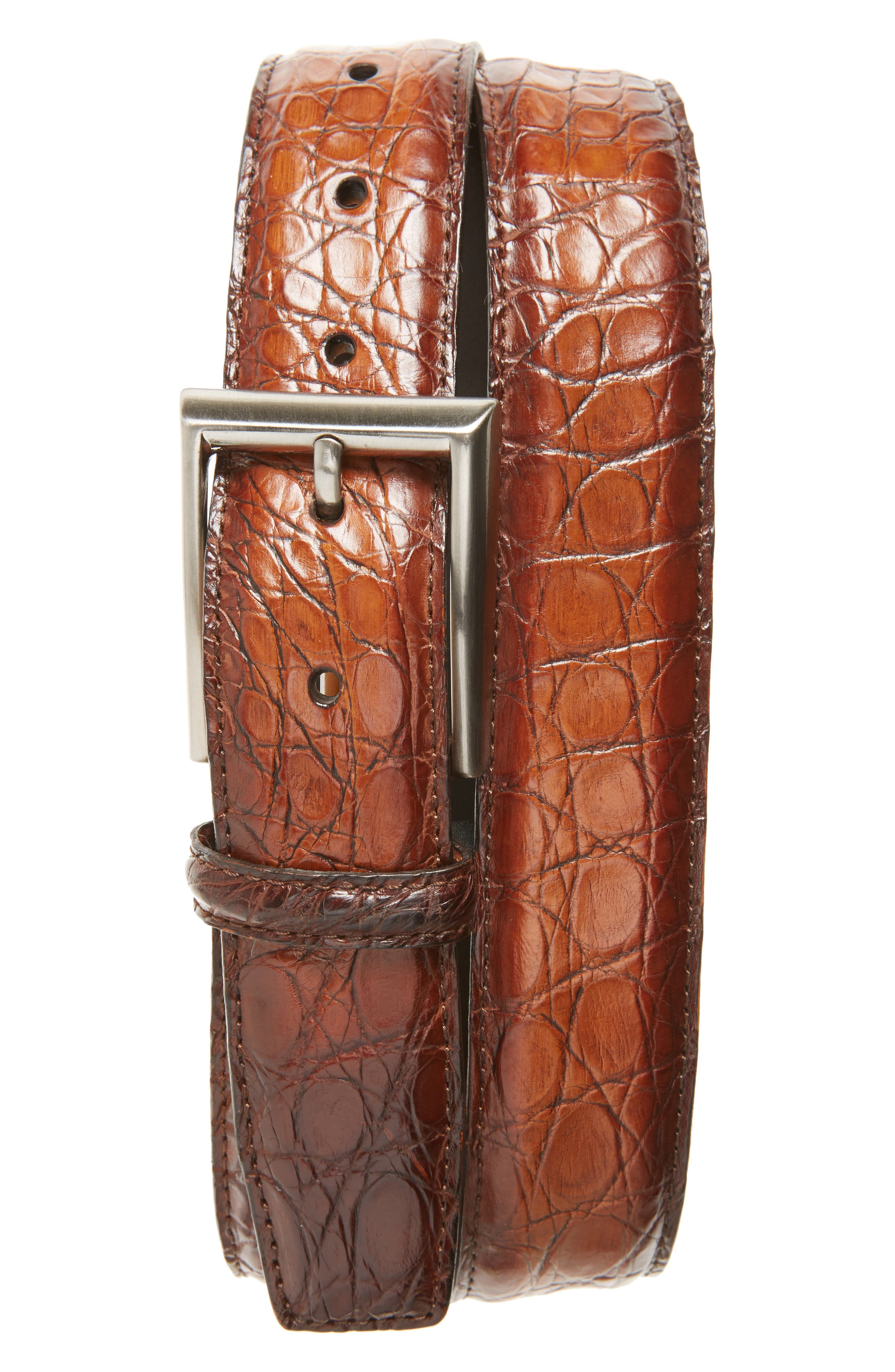 Crocodile Leather Belt,                         Main,                         color, Cognac
